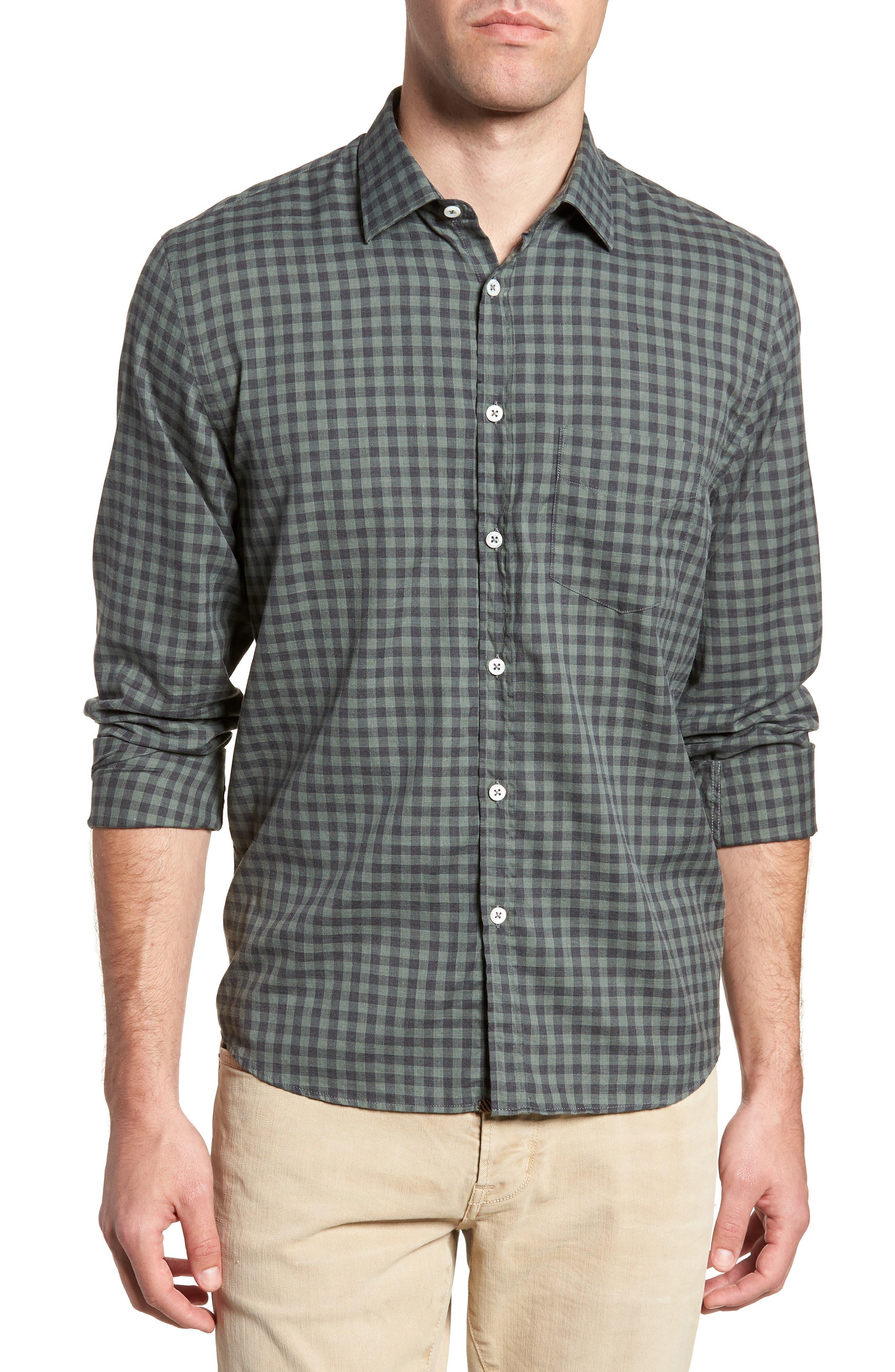 John Standard Fit Check Sport Shirt,                         Main,                         color, Charcoal/ Green