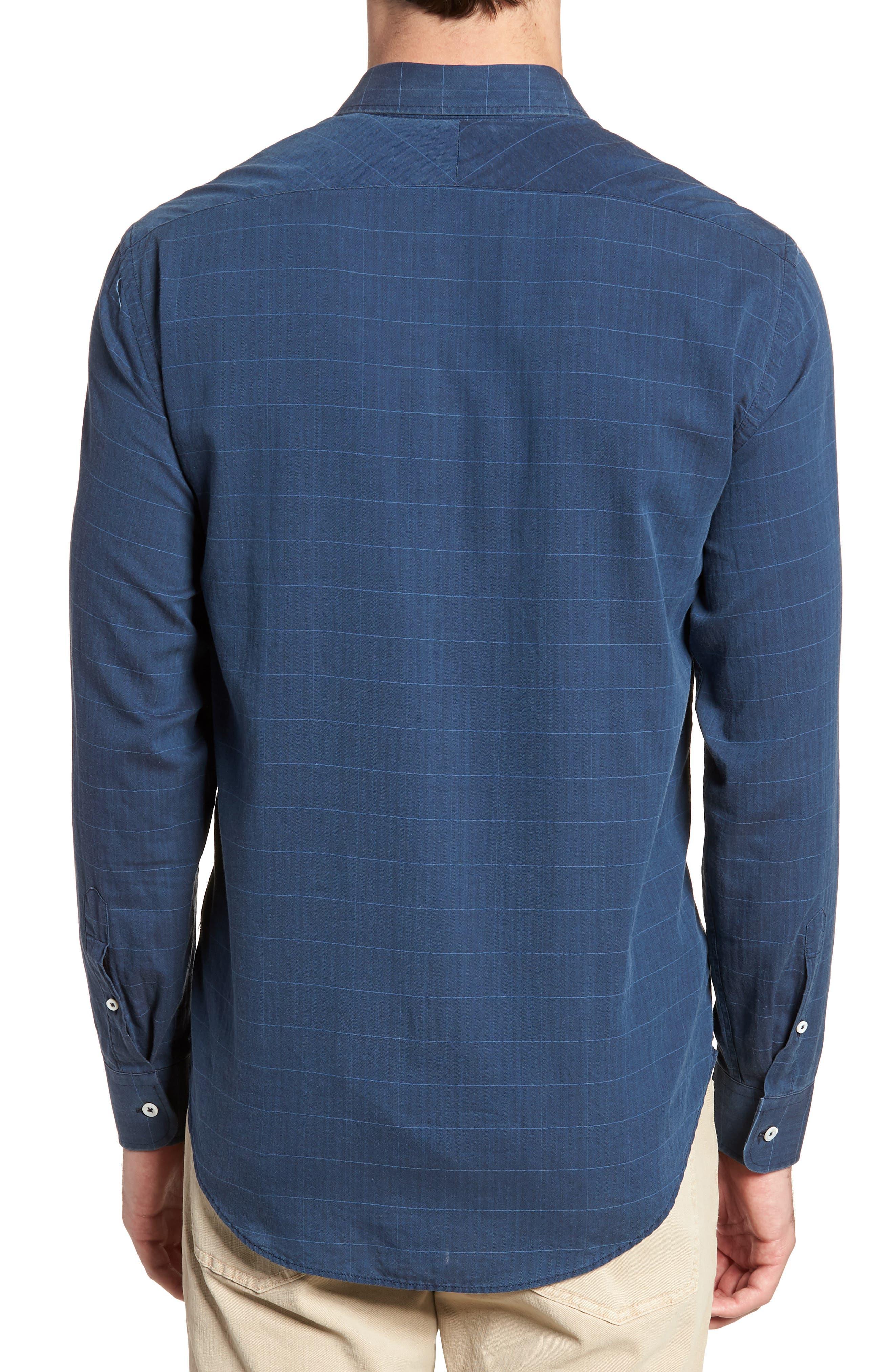 John Standard Fit Windowpane Sport Shirt,                             Alternate thumbnail 3, color,                             Indigo