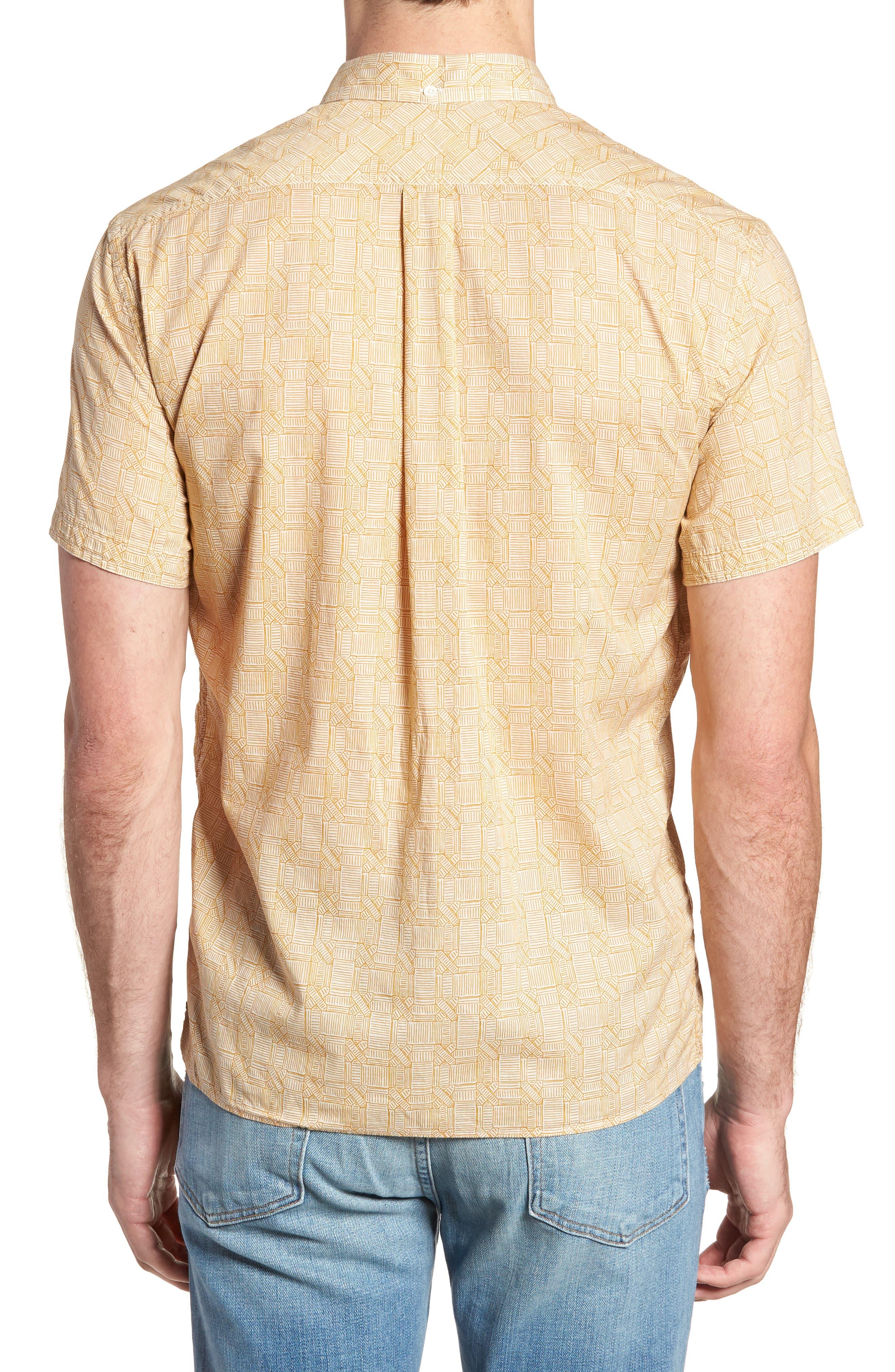 Leo Standard Fit Short Sleeve Sport Shirt,                             Alternate thumbnail 3, color,                             Mustard Docks