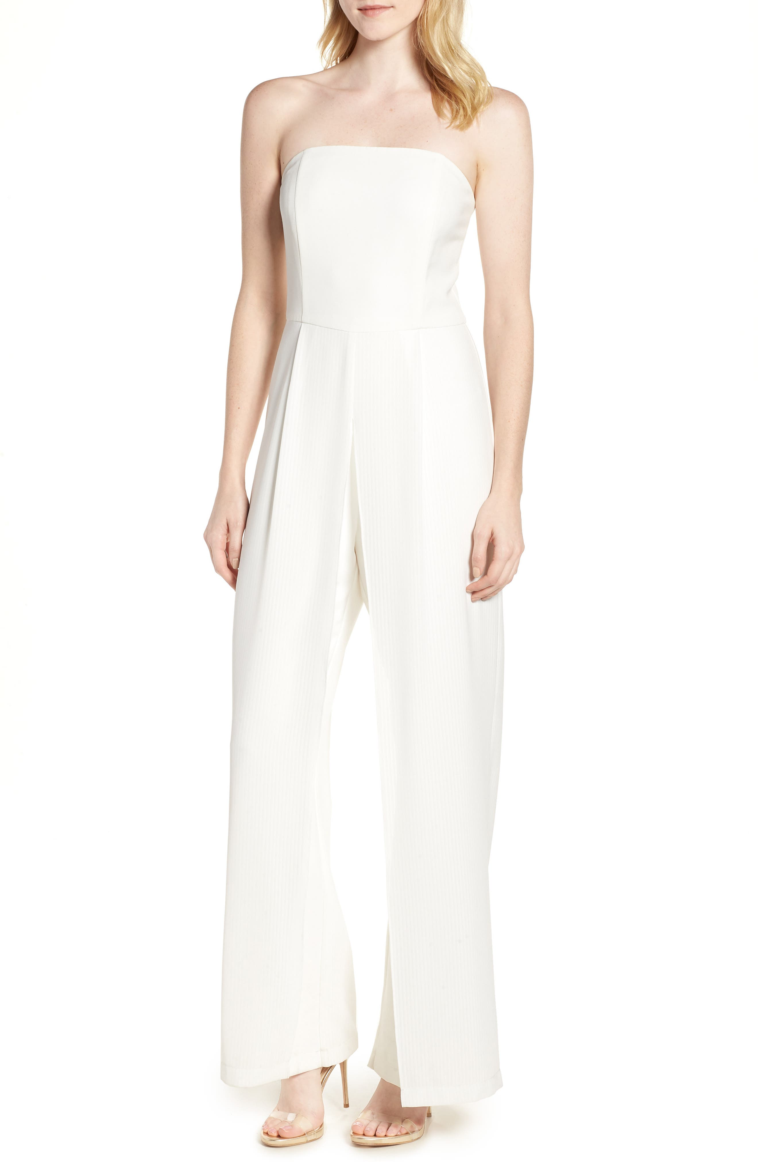 ADELYN RAE STRAPLESS WIDE LEG JUMPSUIT