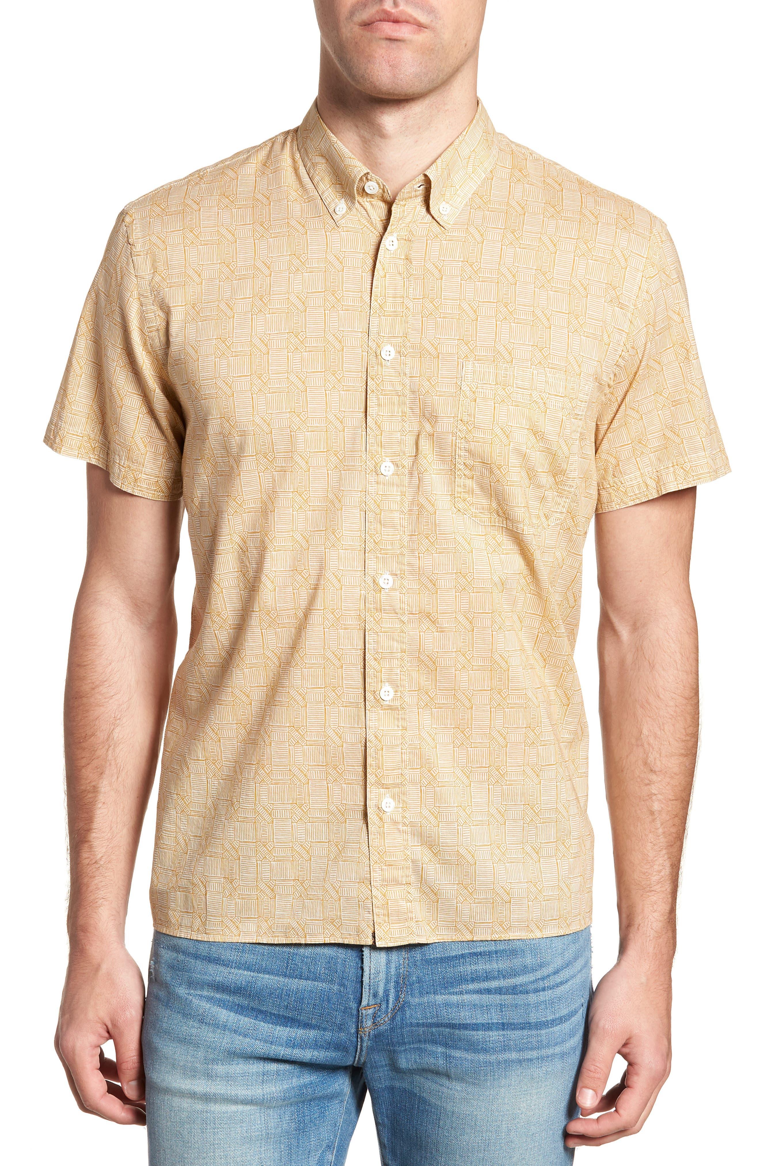Leo Standard Fit Short Sleeve Sport Shirt,                             Main thumbnail 1, color,                             Mustard Docks