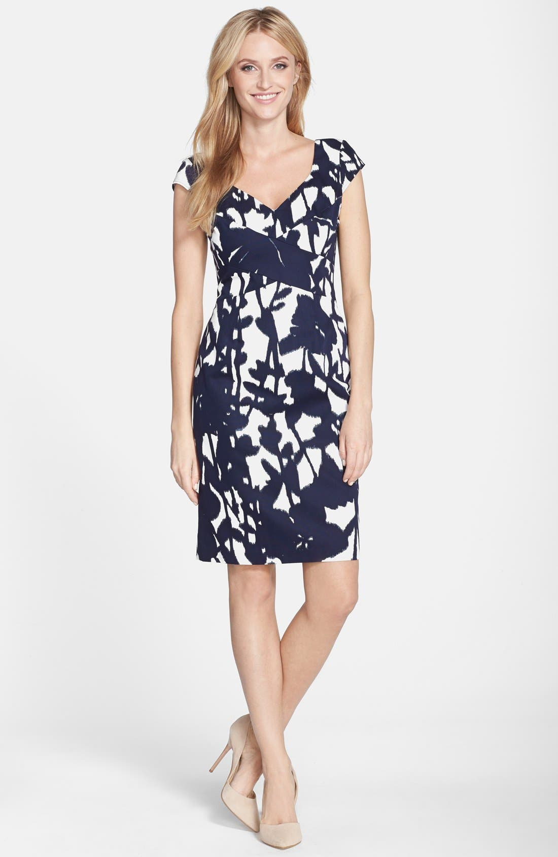 Alternate Image 3  - Adrianna Papell Print Cotton Faille Sheath Dress