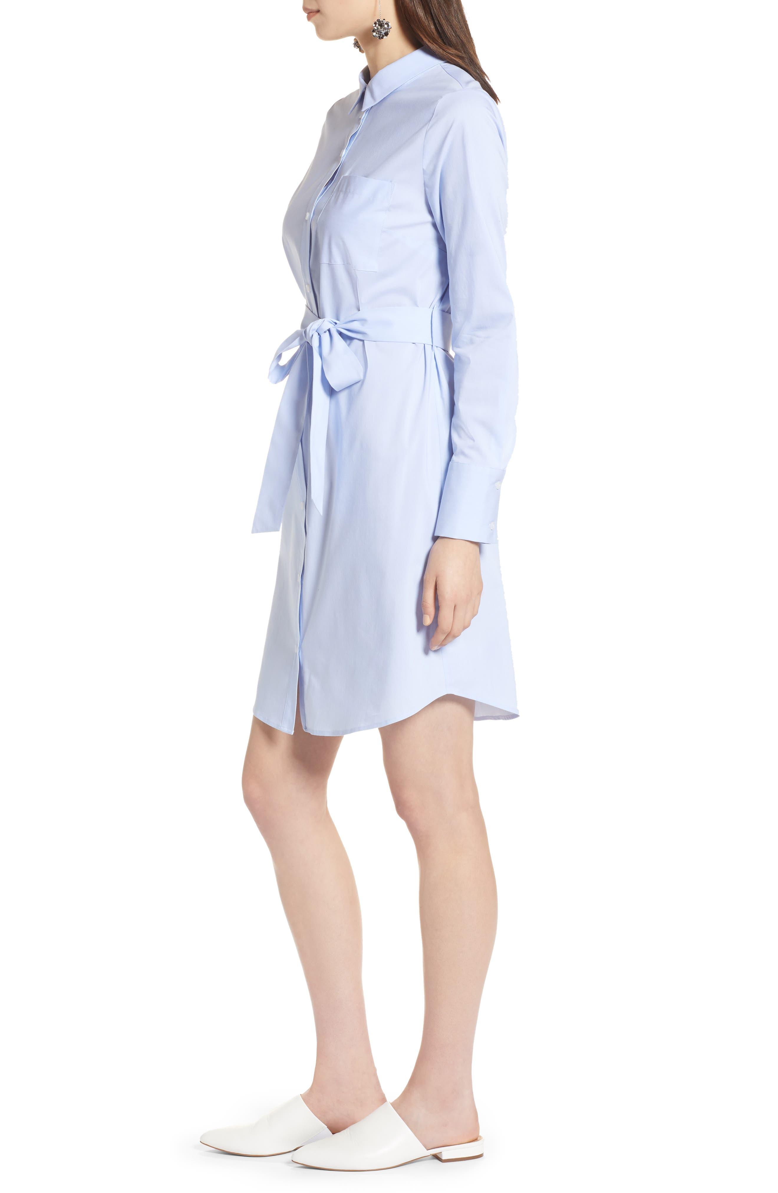 Stretch Cotton Poplin Shirtdress,                             Alternate thumbnail 3, color,                             Blue End Ptn