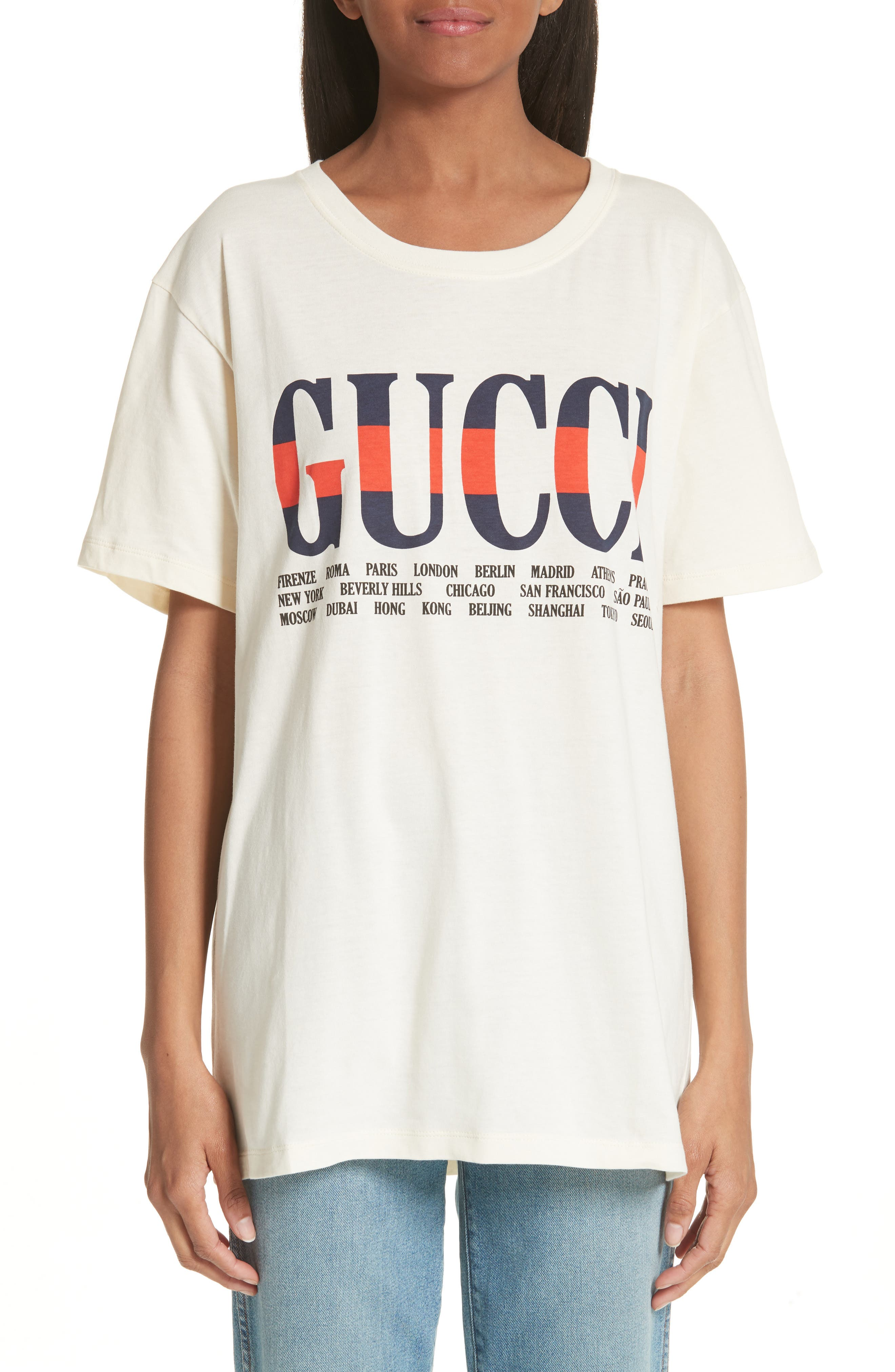Cotton Graphic Tee,                         Main,                         color, Ivory