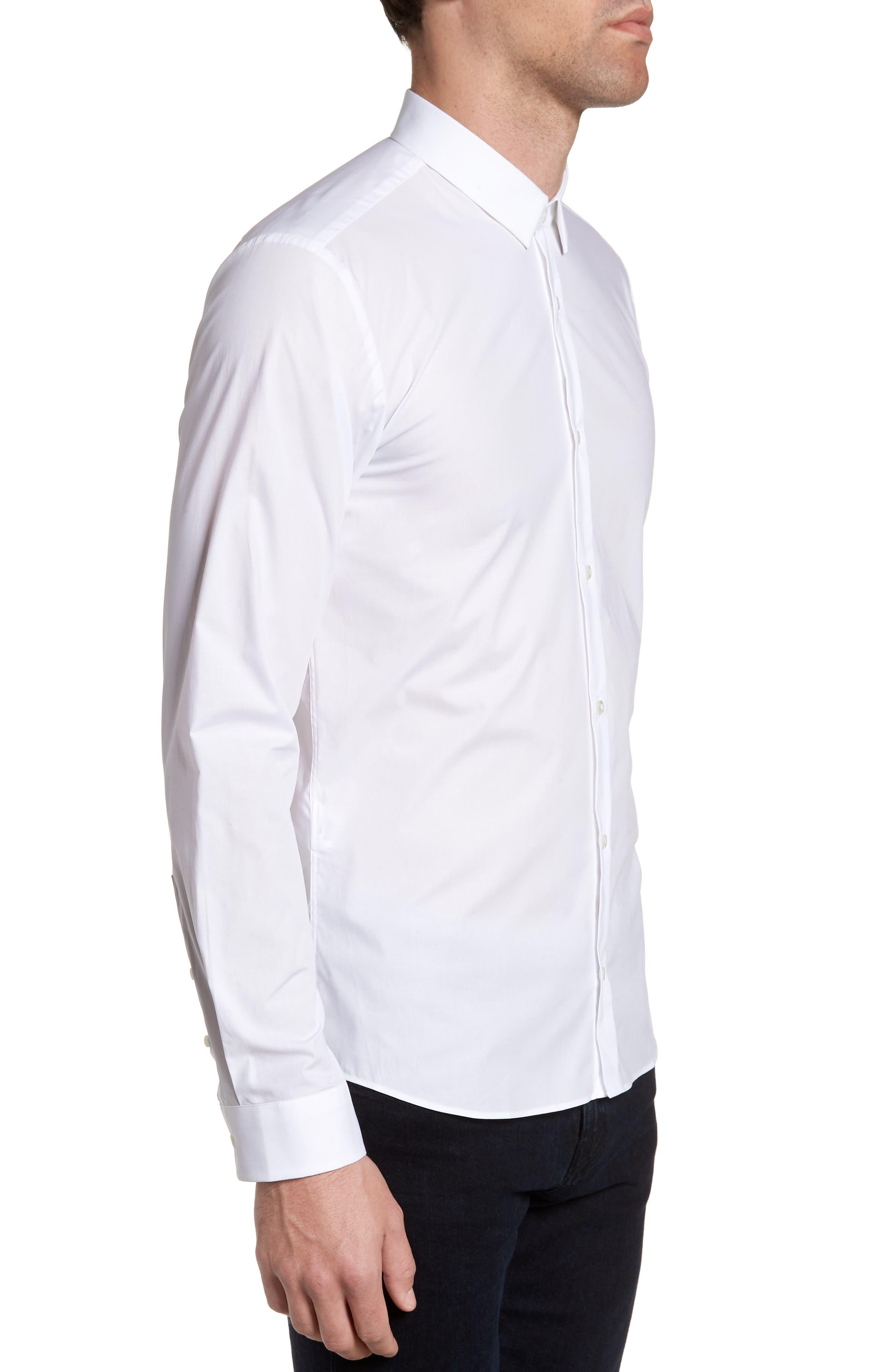 Ero3 Trim Fit Sport Shirt,                             Alternate thumbnail 3, color,                             White