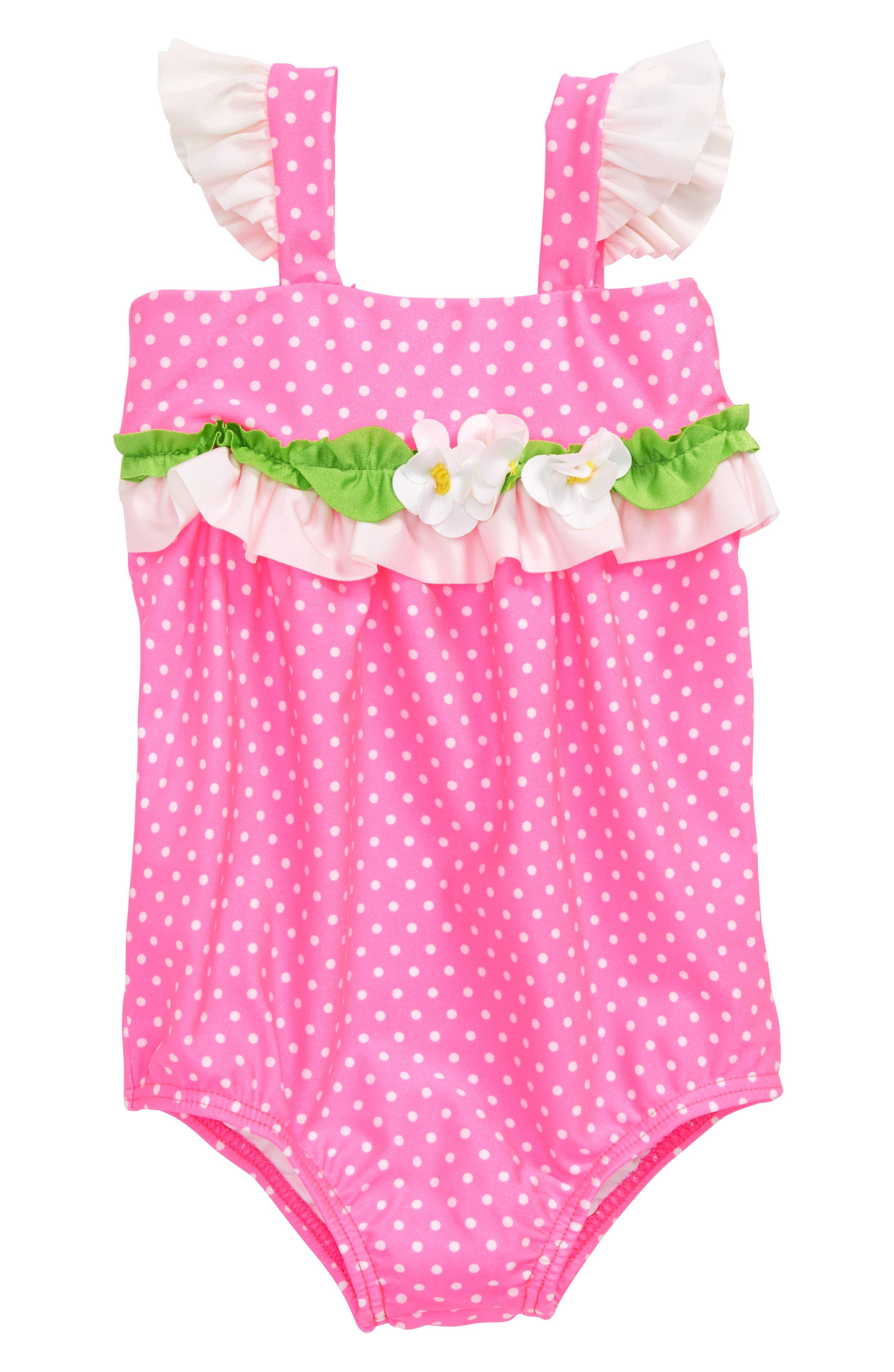Love U Lots Bubble One-Piece Swimsuit (Baby Girls)