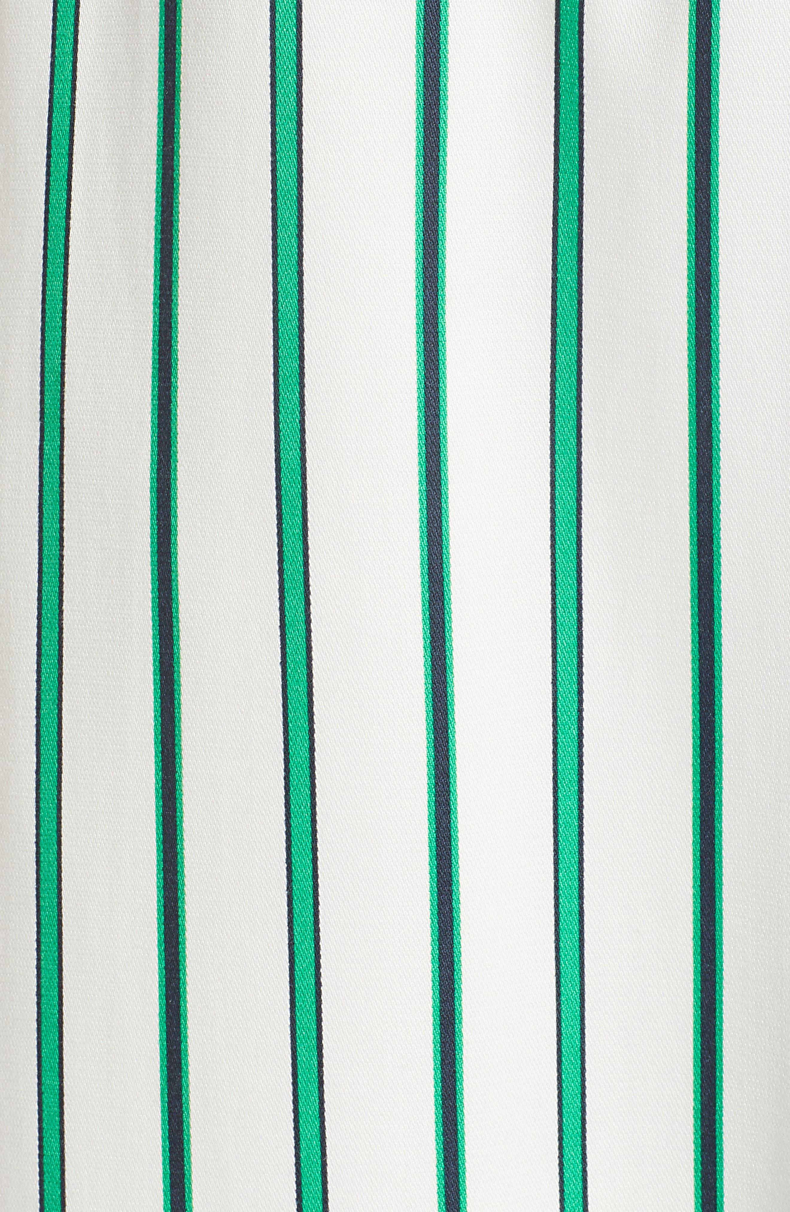 Draped Faux Wrap Dress,                             Alternate thumbnail 5, color,                             Ivory- Green Stripe