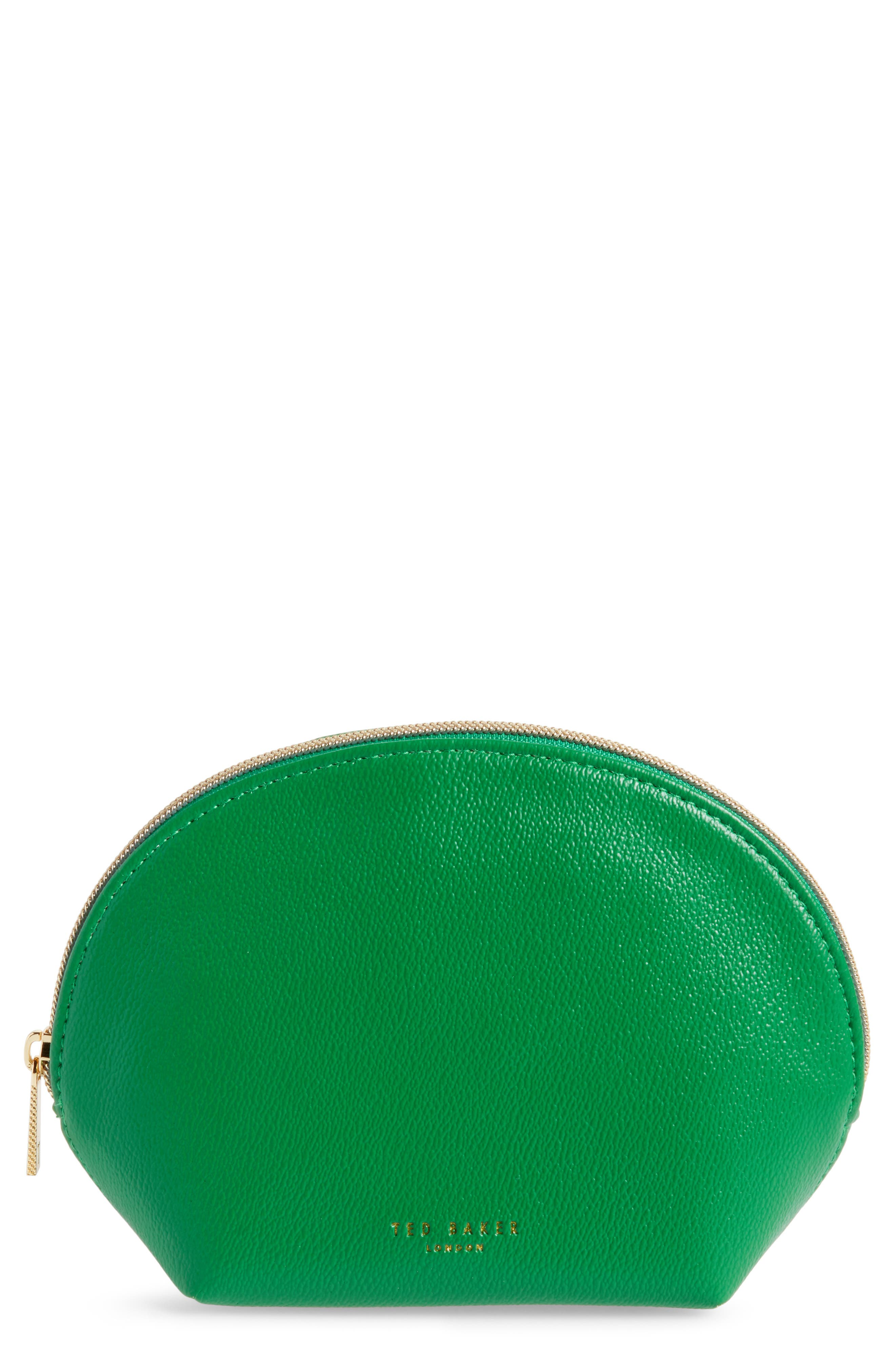 Faux Leather Zip Pouch - Green, Bright Green