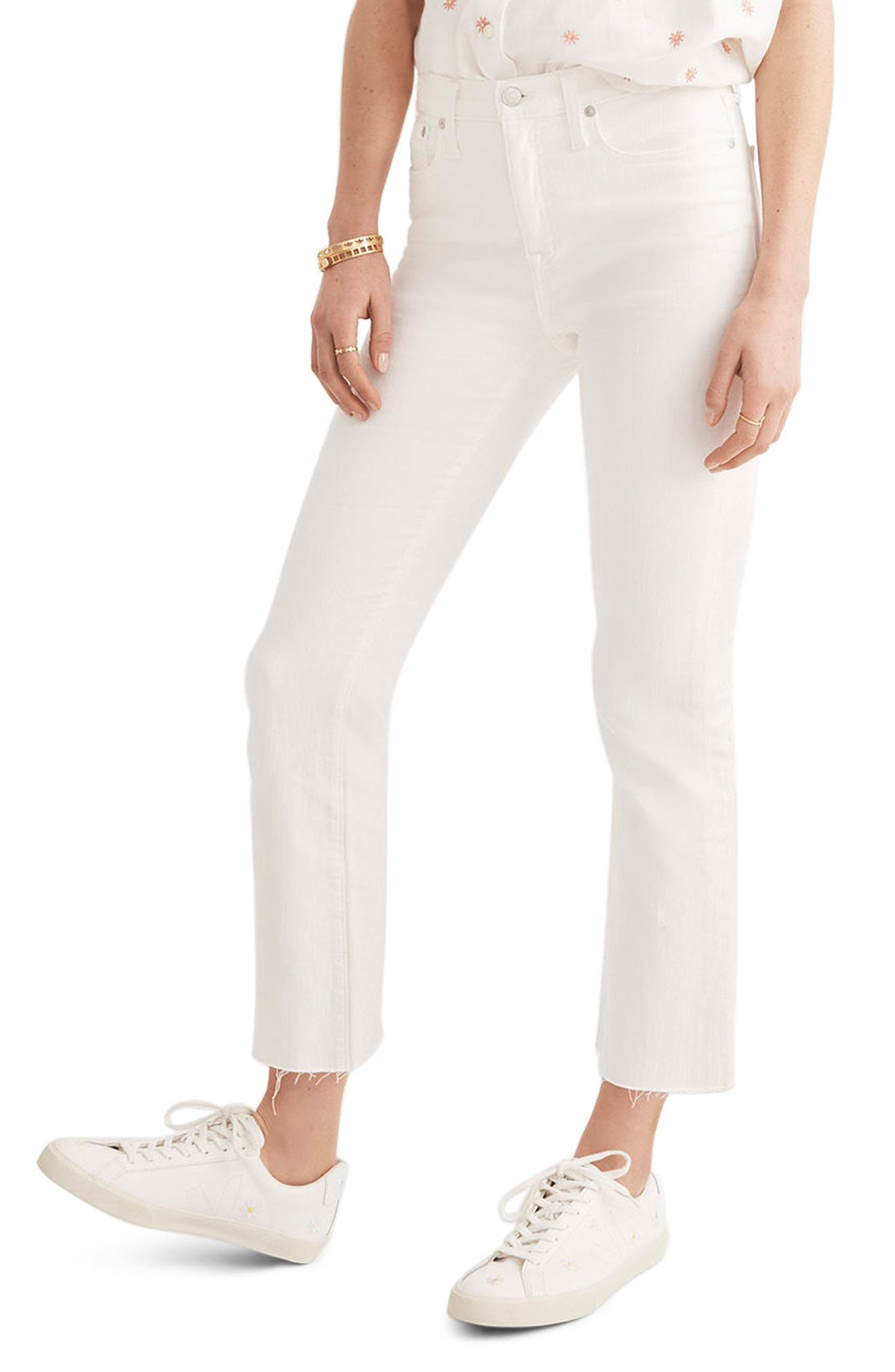 Cali Raw Edge Demi Boot Jeans,                             Main thumbnail 1, color,                             Pure White