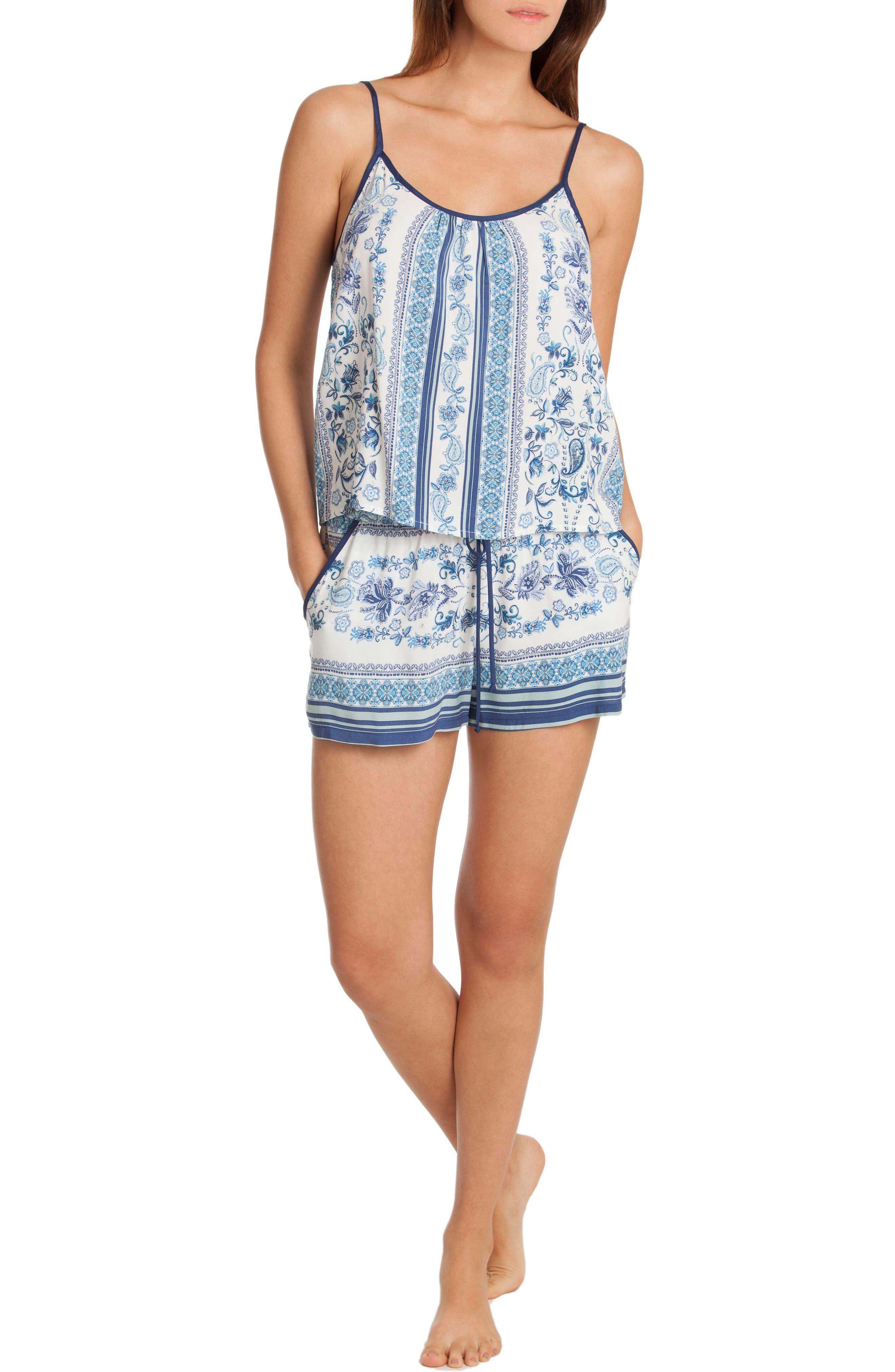 Short Pajamas,                             Alternate thumbnail 5, color,                             Blue/ White Print