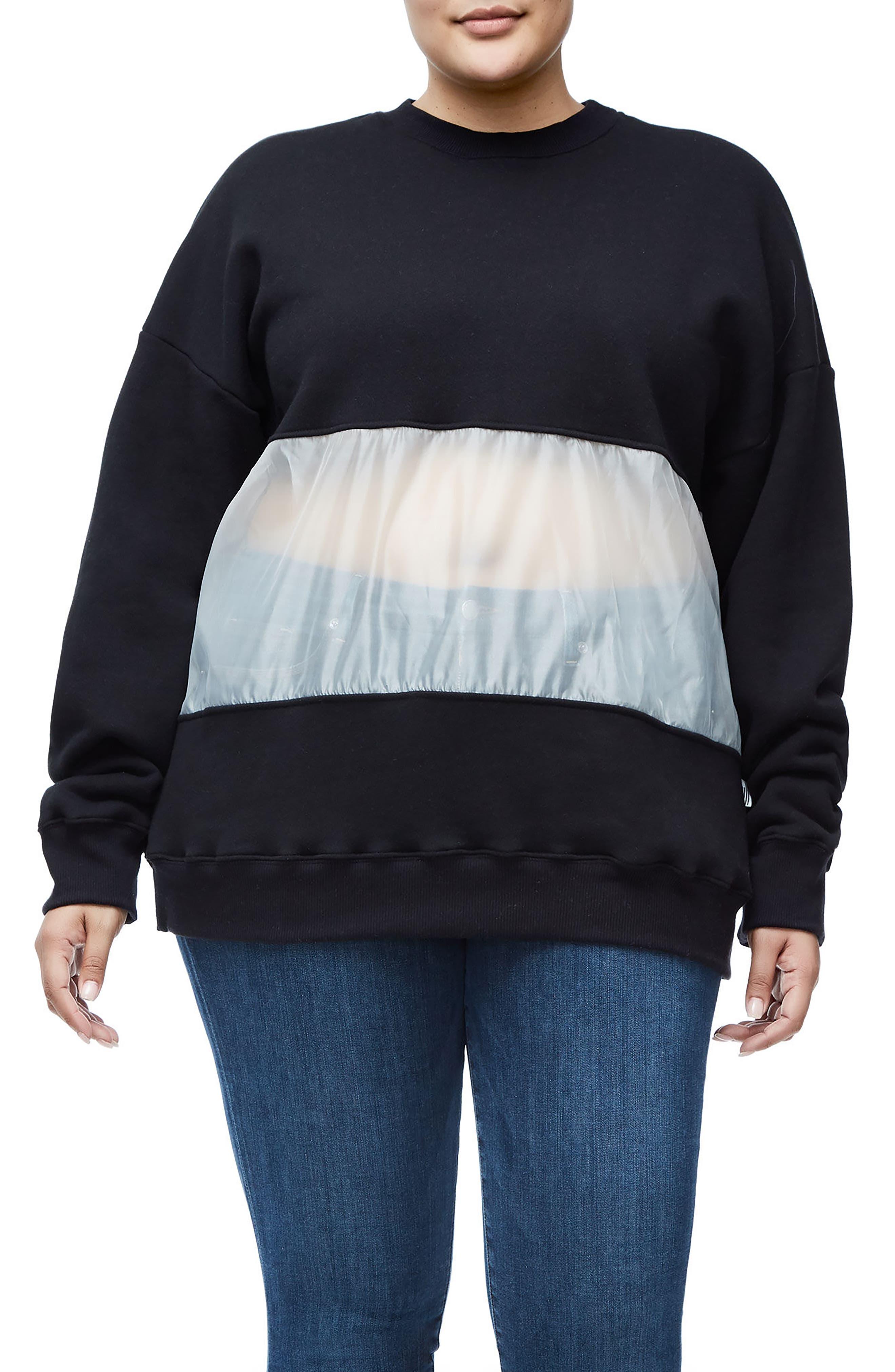 Mixed Media Oversize Sweatshirt,                             Alternate thumbnail 5, color,                             Black001