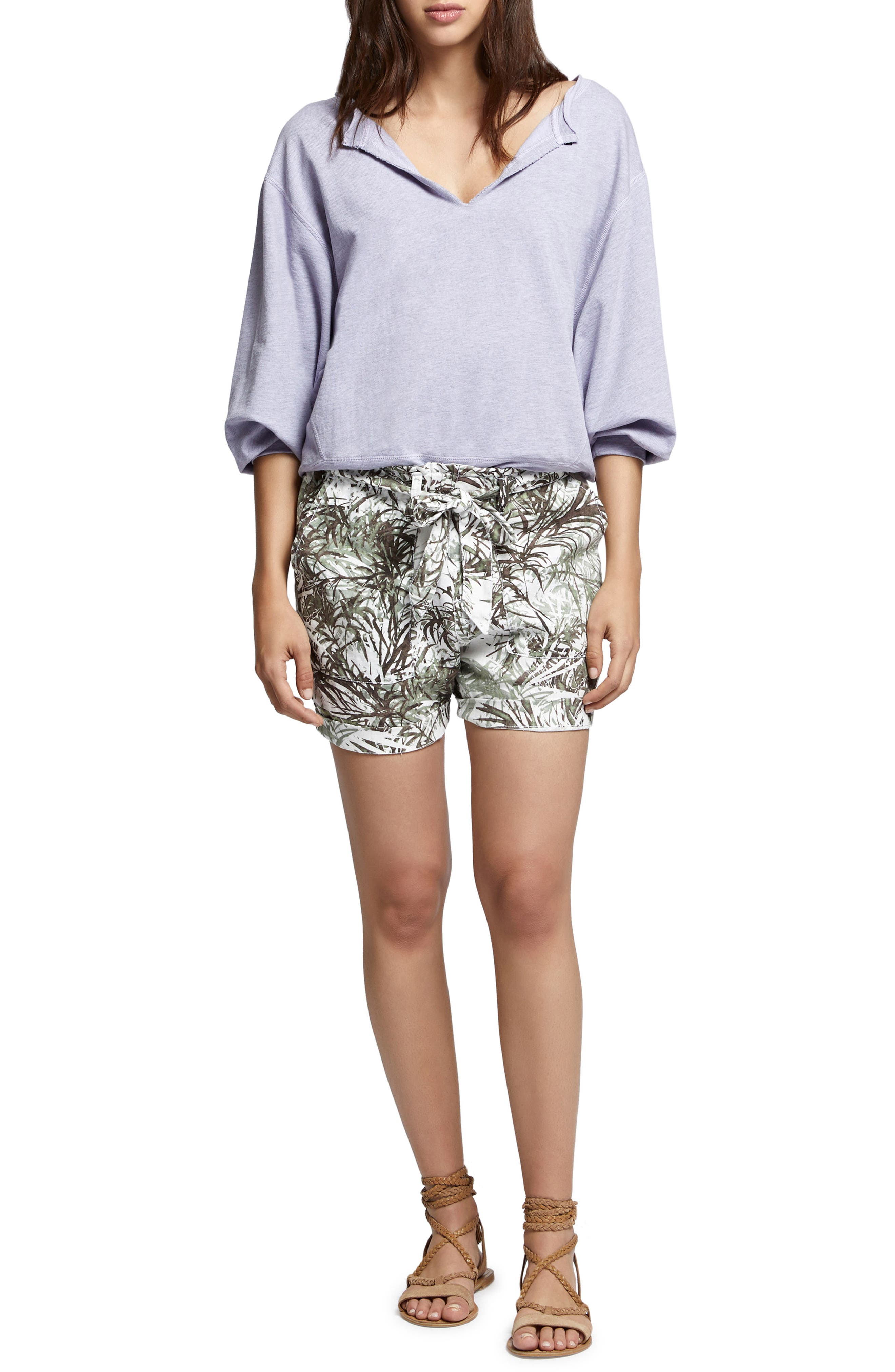 Muse Tie Waist Shorts,                             Alternate thumbnail 4, color,                             Tiki Palm