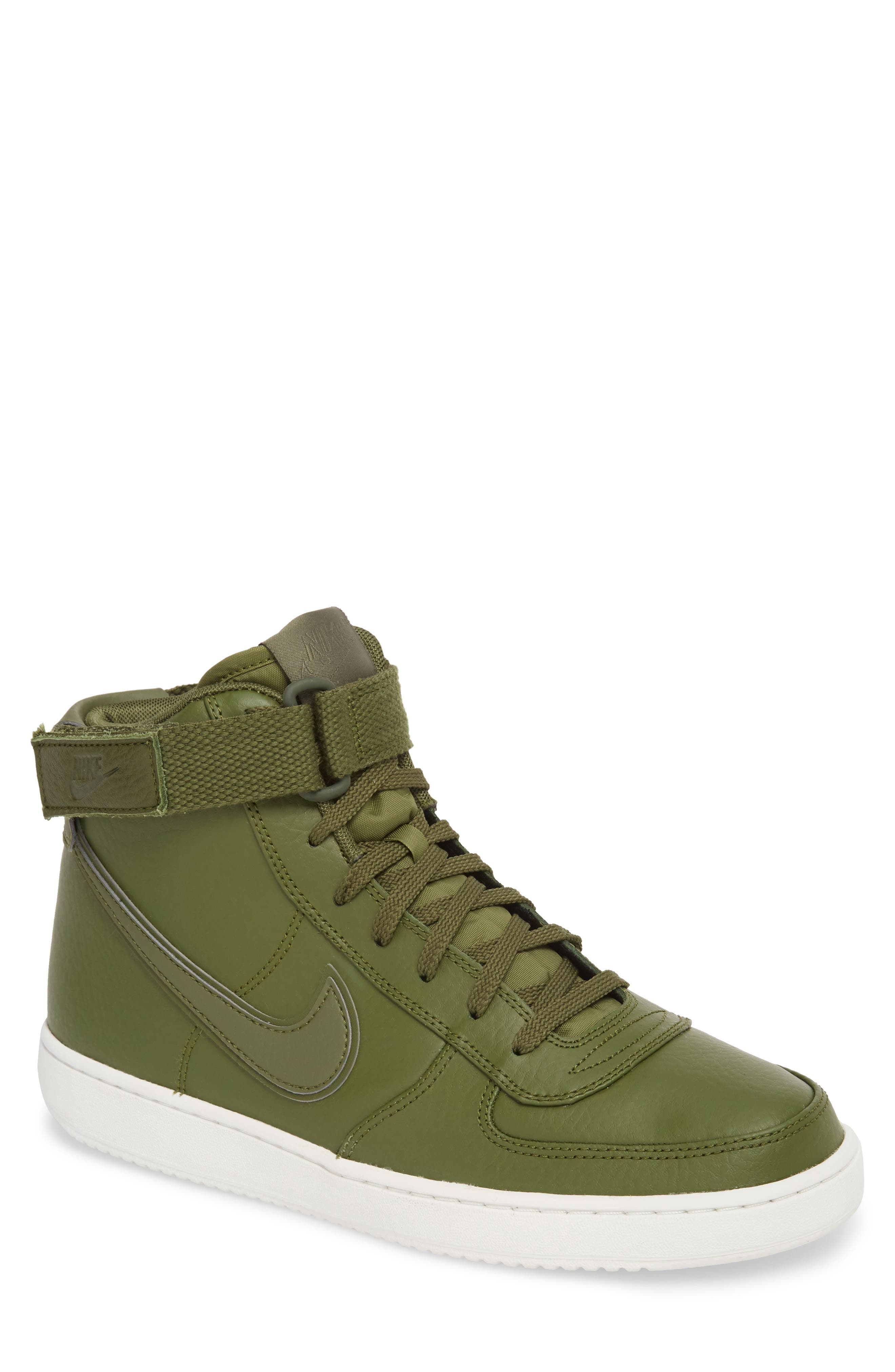 Vandal High Supreme Leather Sneaker,                         Main,                         color, Legion Green/ Summit White