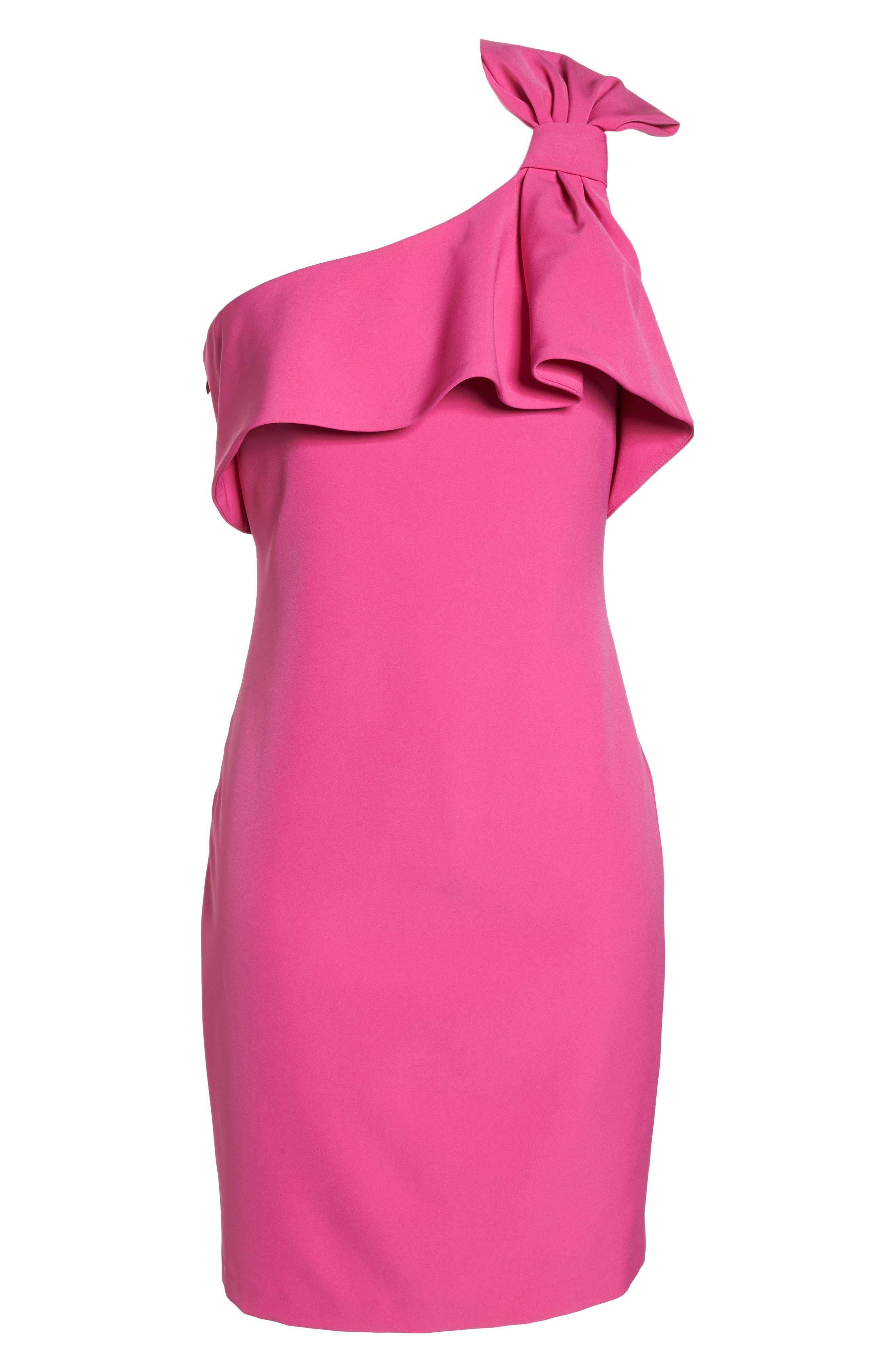 One Shoulder Bow Sheath Dress,                             Alternate thumbnail 6, color,                             Fuchsia