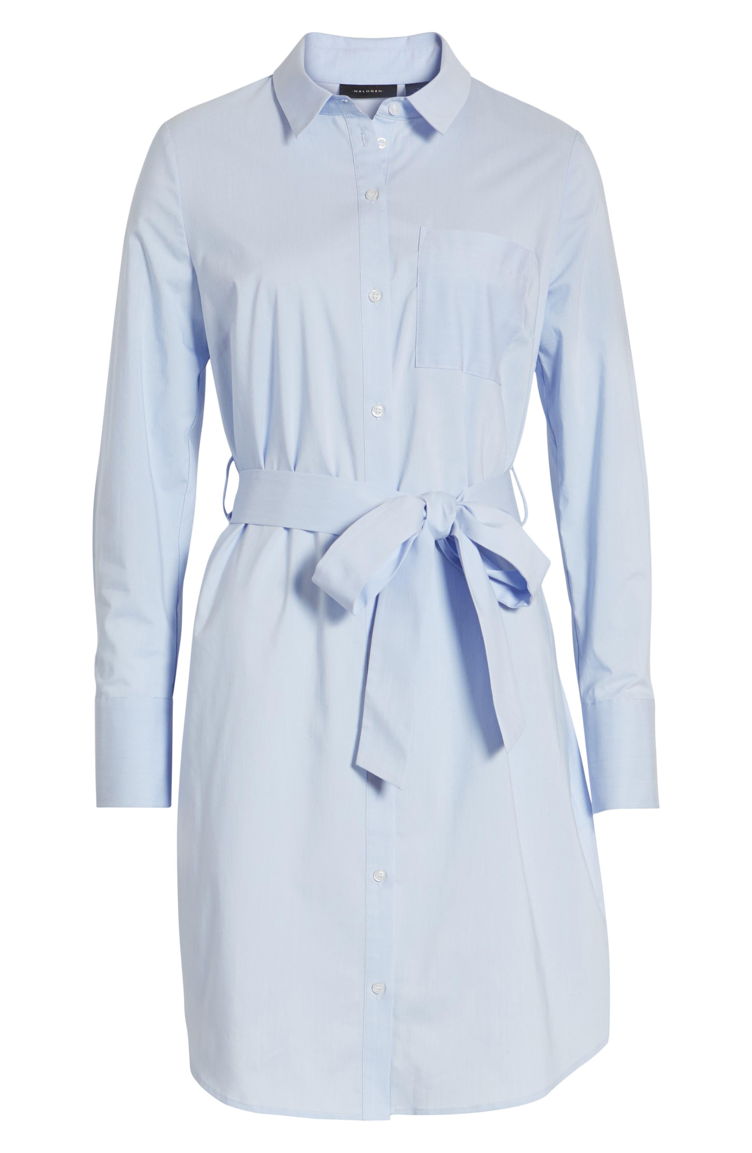 Stretch Cotton Poplin Shirtdress,                             Alternate thumbnail 7, color,                             Blue End Ptn