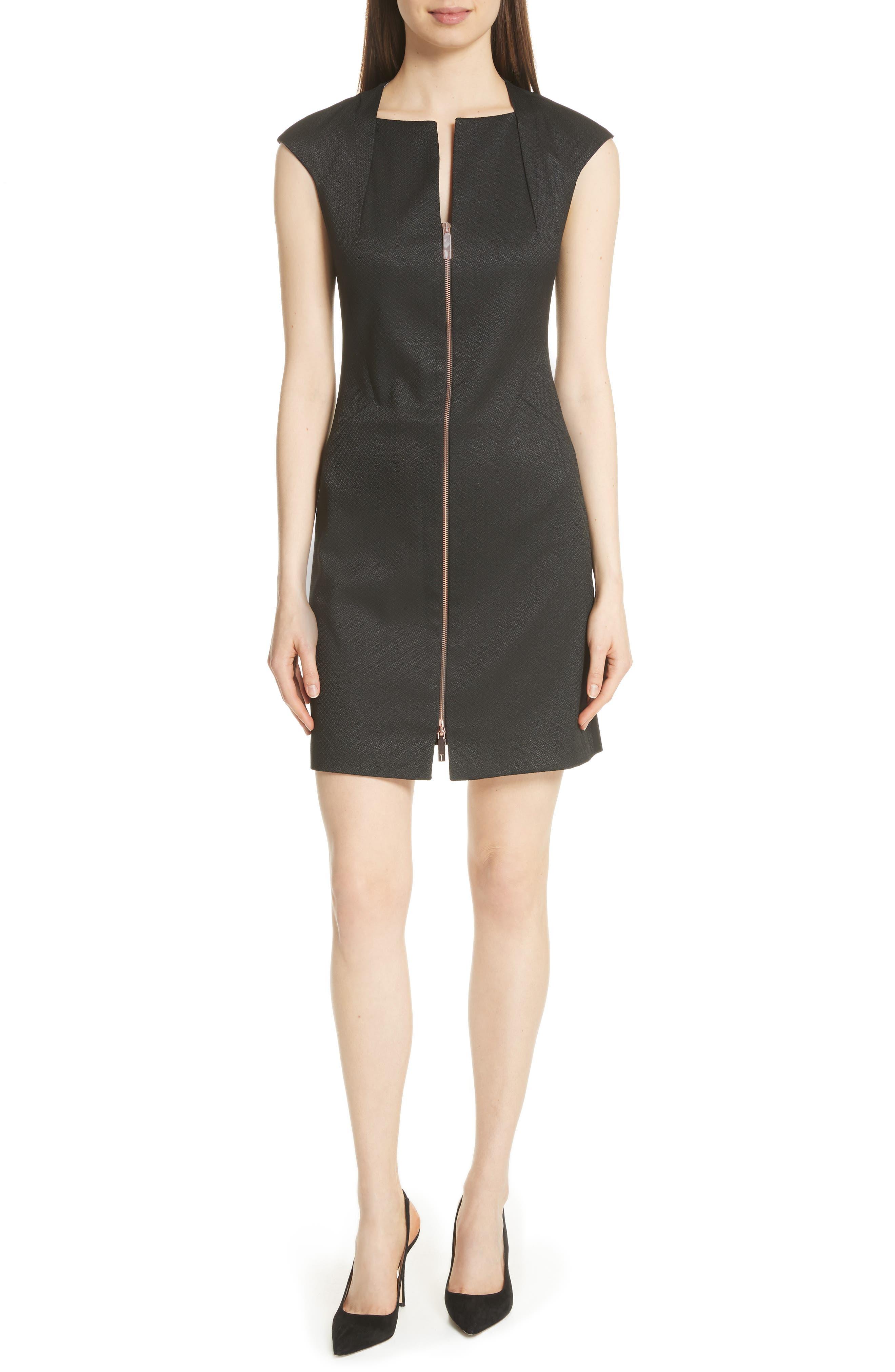 Zip Front A-Line Dress,                             Main thumbnail 1, color,                             Black