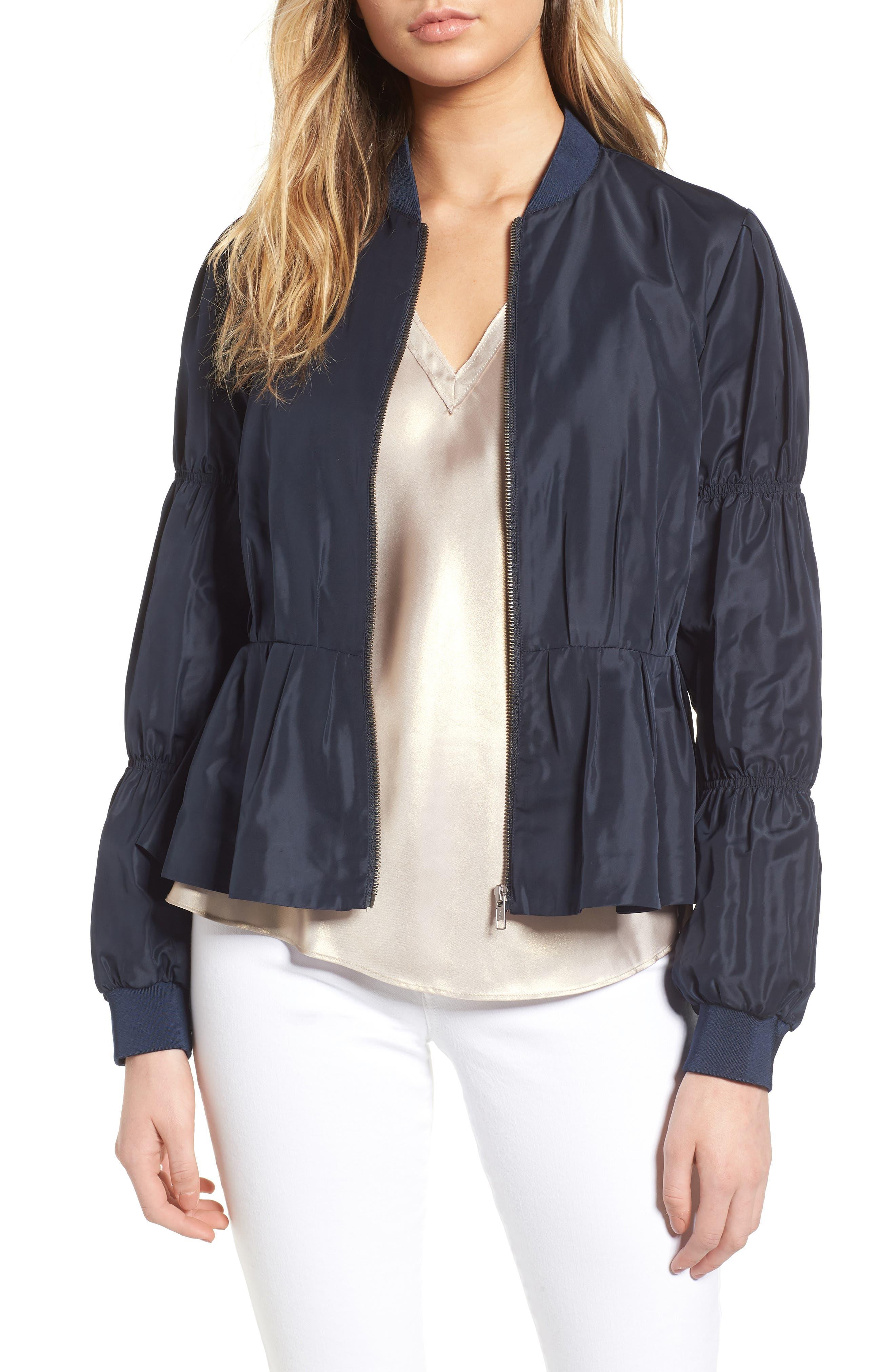 Puff Sleeve Taffeta Crop Jacket,                             Main thumbnail 1, color,                             Navy Eclipse