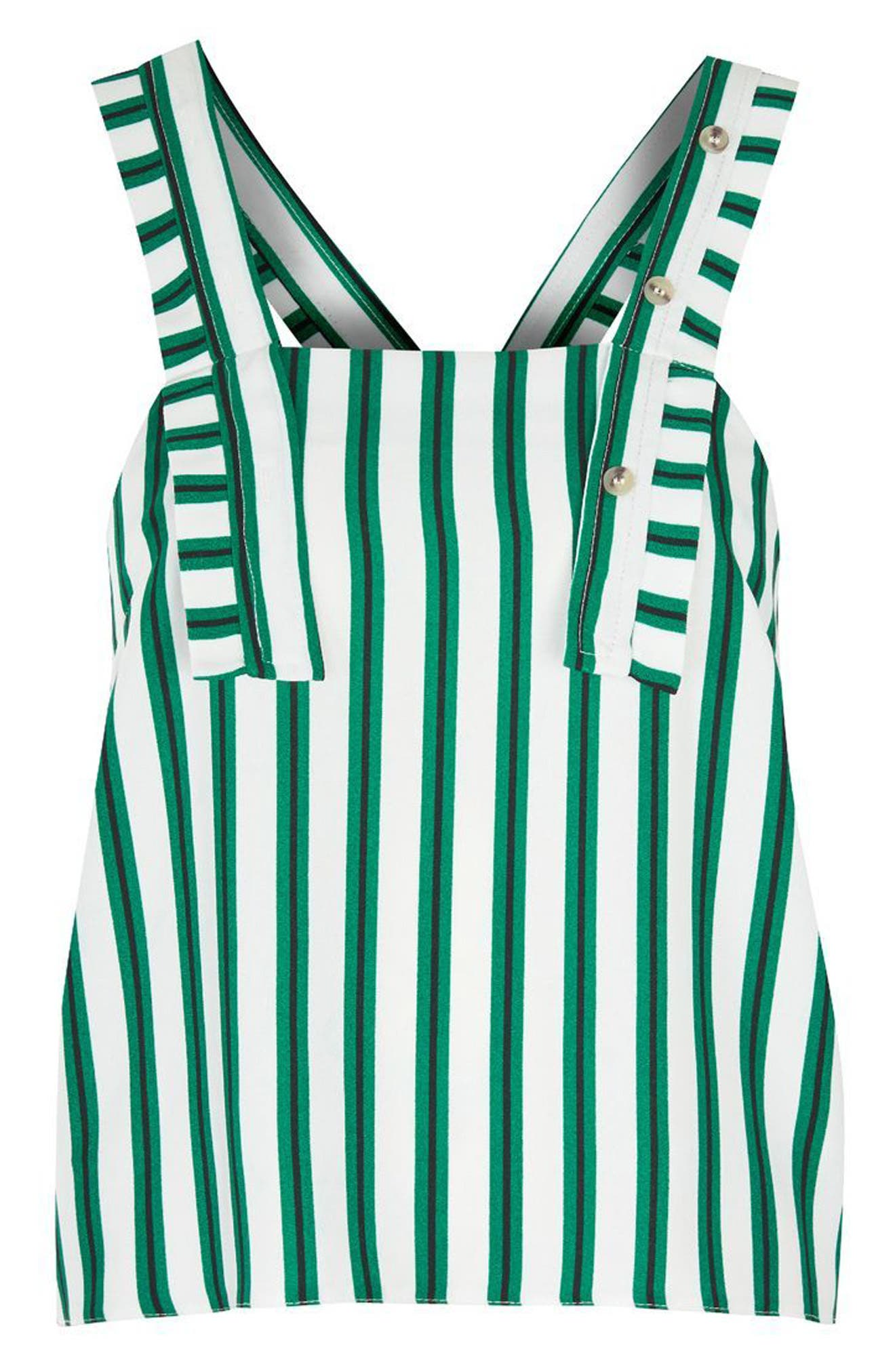 Stripe Button Camisole,                             Alternate thumbnail 4, color,                             Green Multi