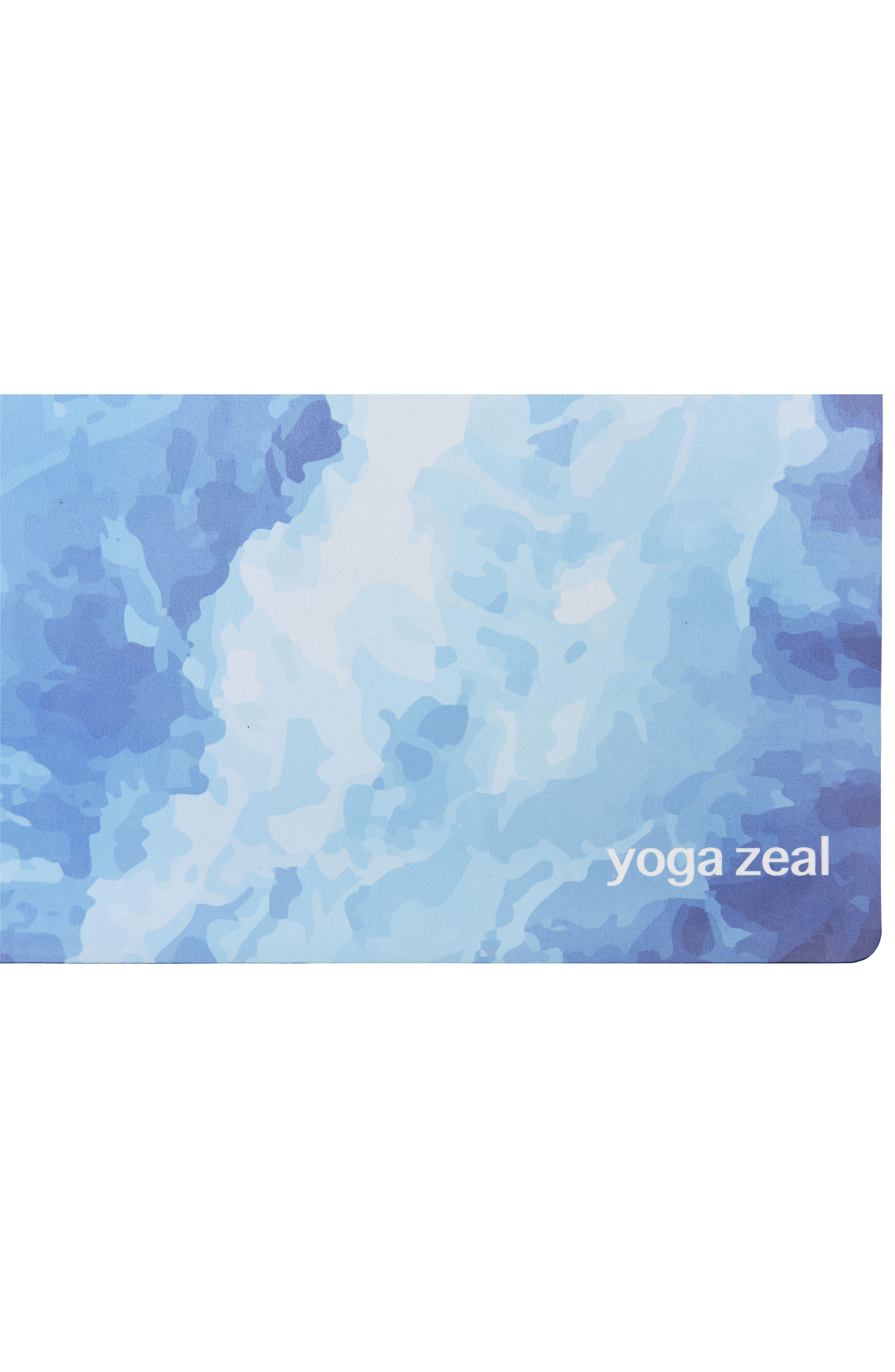 Ocean Print Yoga Mat,                             Alternate thumbnail 3, color,                             Blue