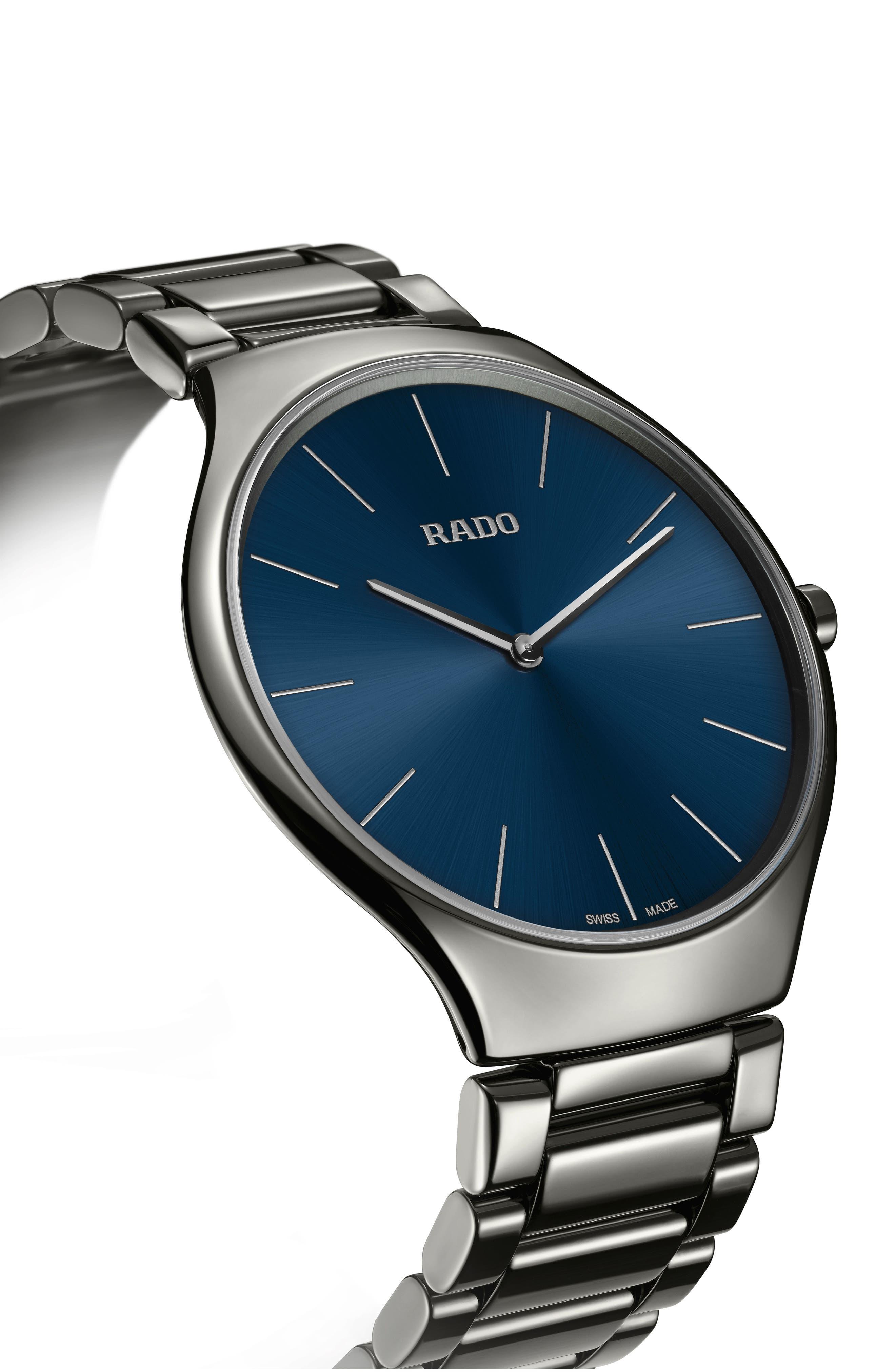True Thinline Ceramic Bracelet Watch, 39mm,                             Alternate thumbnail 3, color,                             Plasma/ Blue/ Plasma