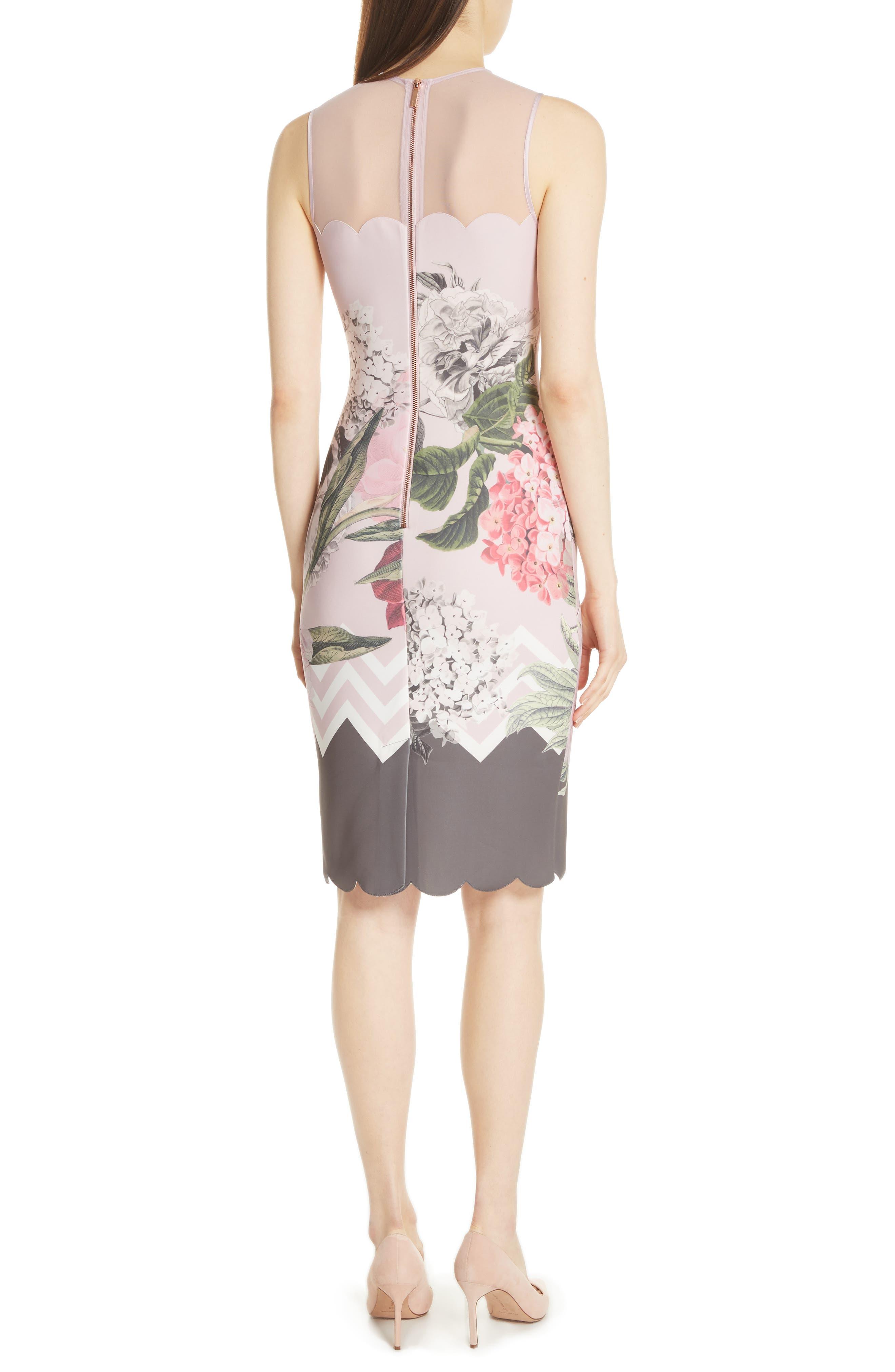 Palace Gardens Body-Con Dress,                             Alternate thumbnail 2, color,                             Dusky Pink