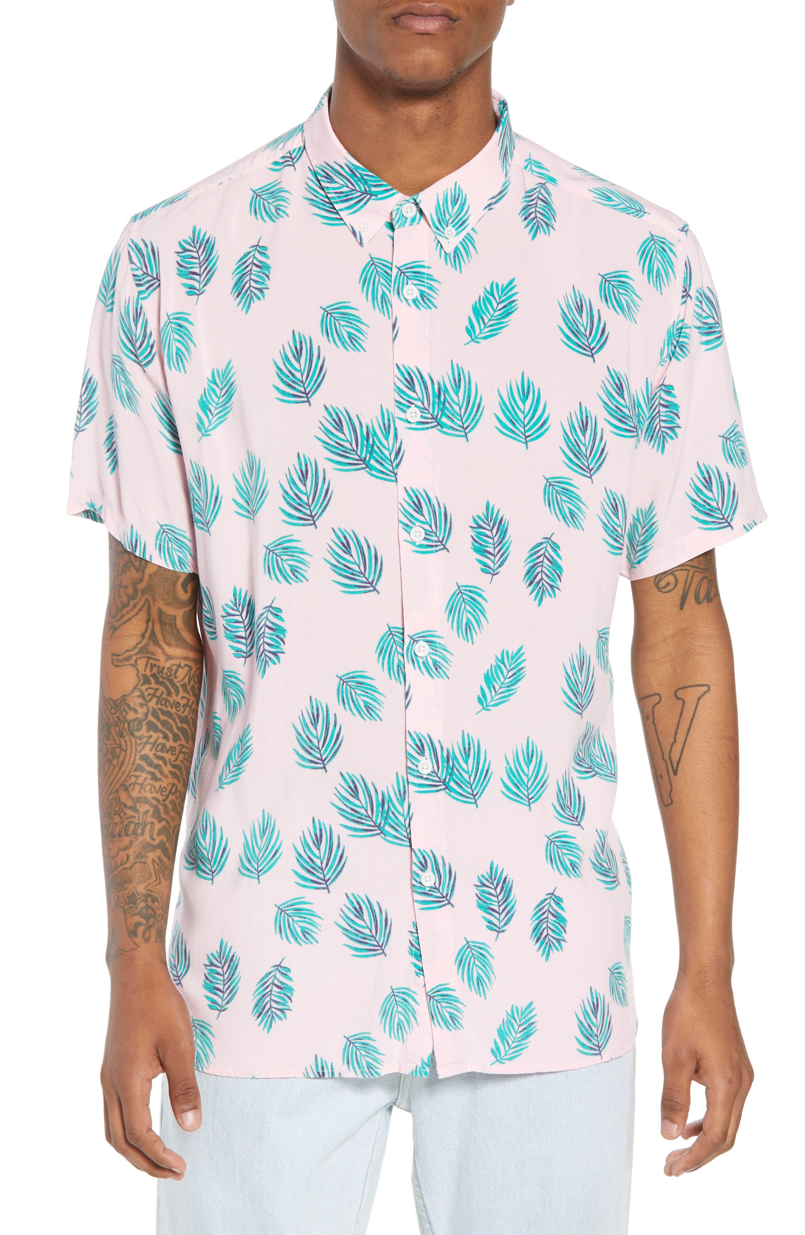 Holiday Woven Shirt,                             Main thumbnail 1, color,                             Pink Fern