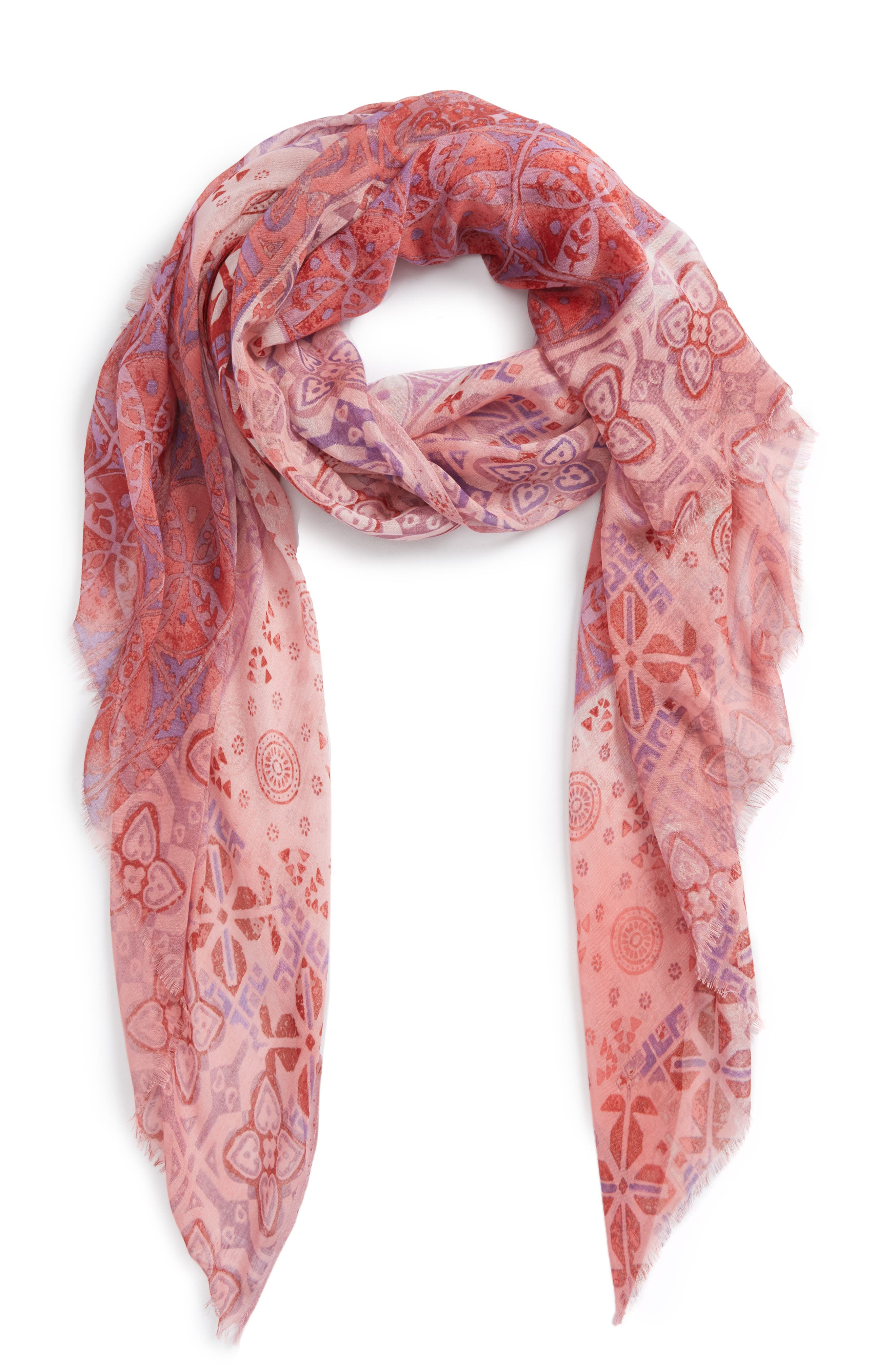 Print Modal & Silk Scarf,                         Main,                         color, Pink Mediterranean Tiles