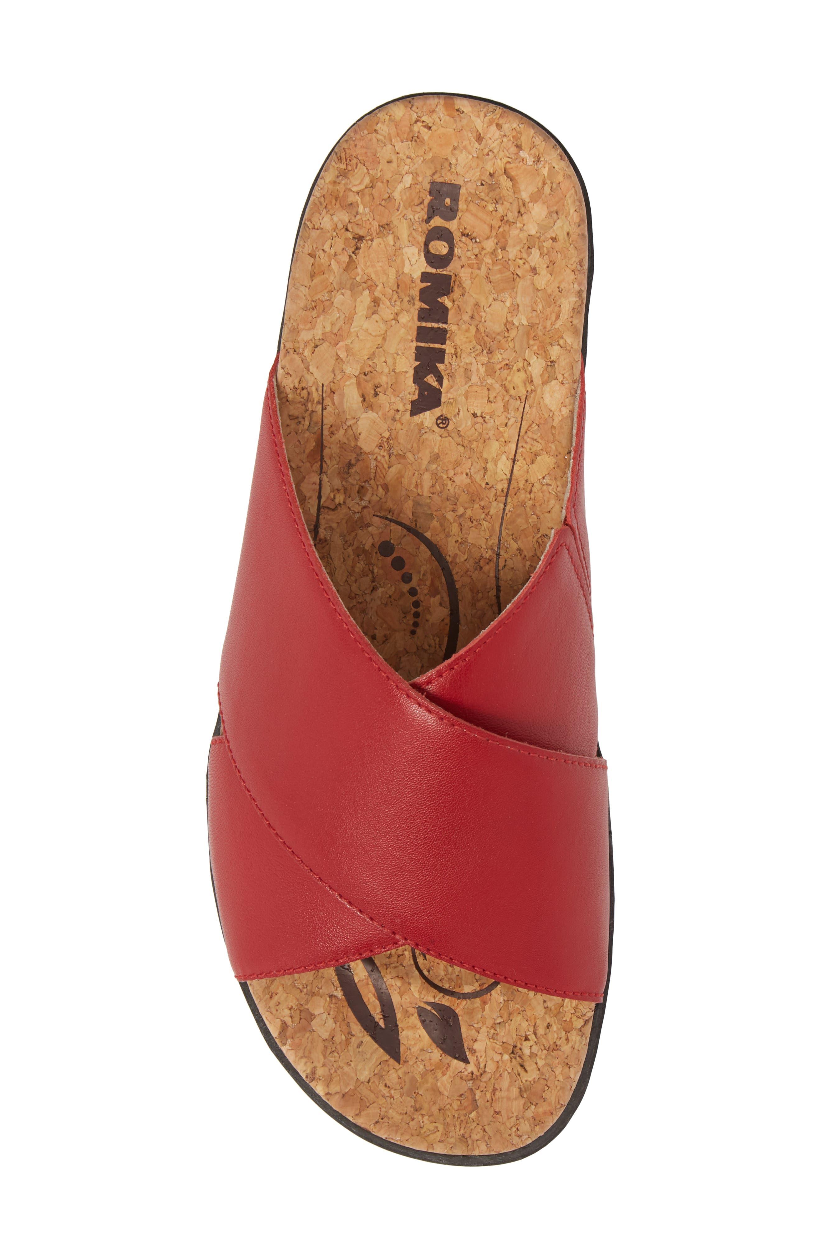 Hollywood 02 Slide Sandal,                             Alternate thumbnail 5, color,                             Red Leather