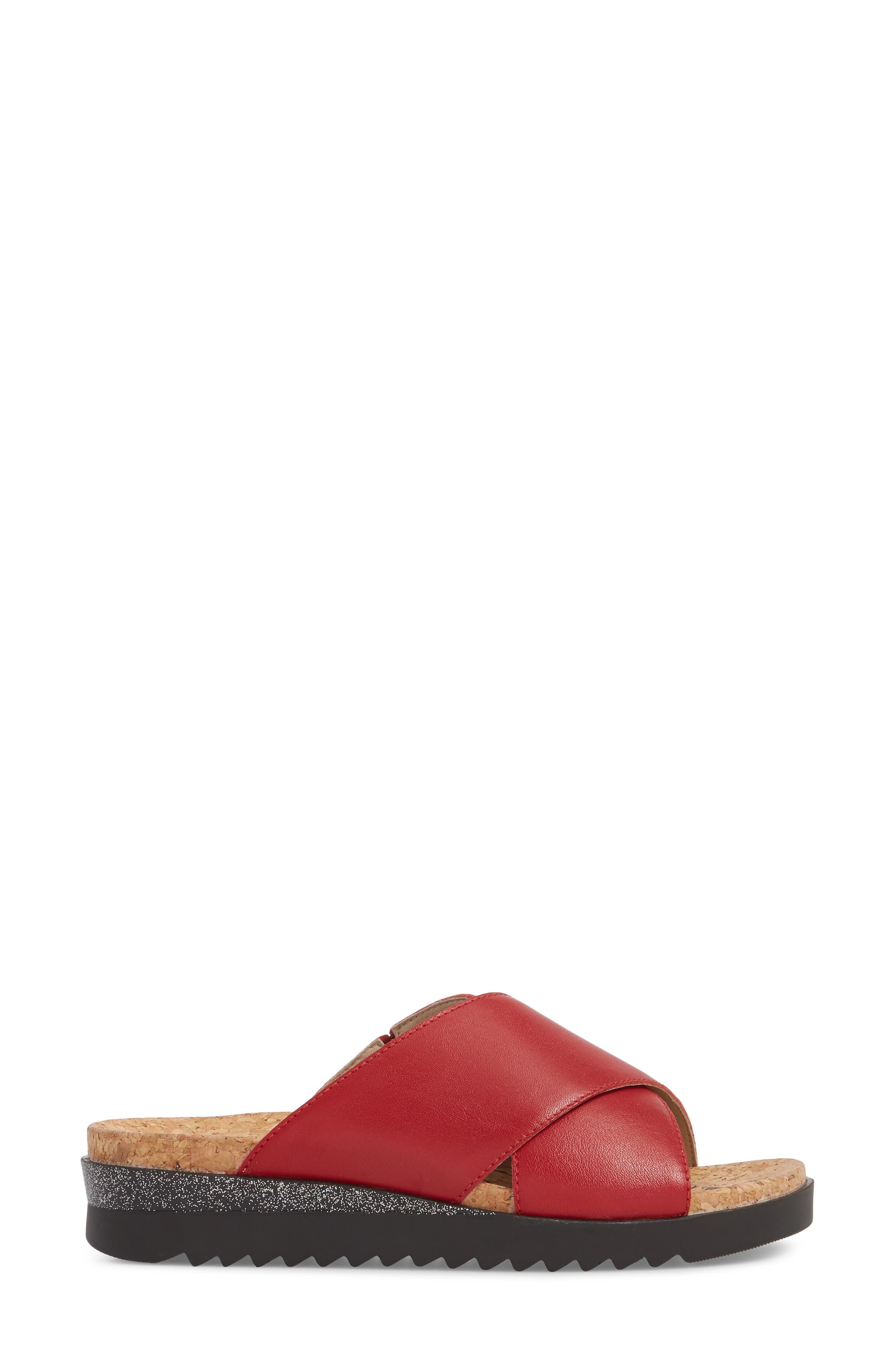 Hollywood 02 Slide Sandal,                             Alternate thumbnail 3, color,                             Red Leather