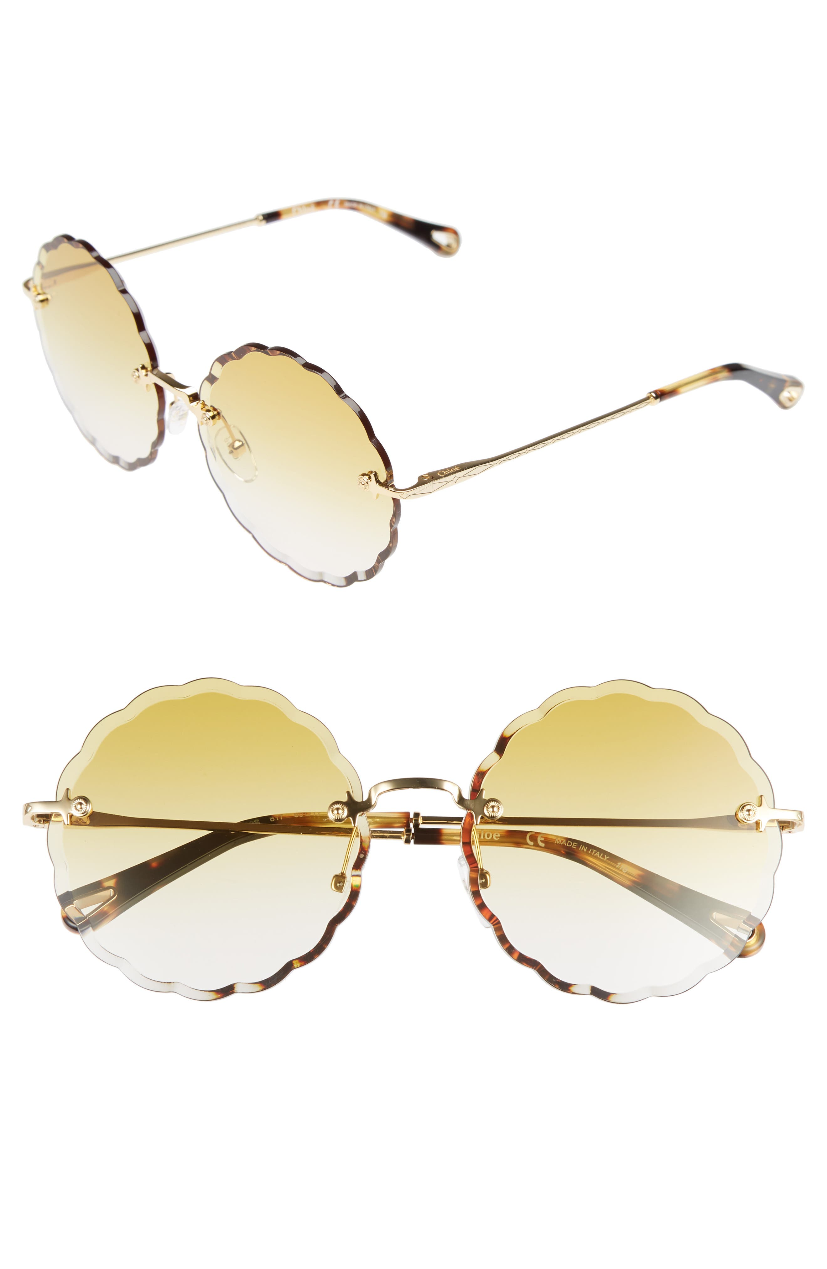 Rosie 60mm Scalloped Rimless Sunglasses,                             Main thumbnail 1, color,                             Gold/ Gradient Ochre