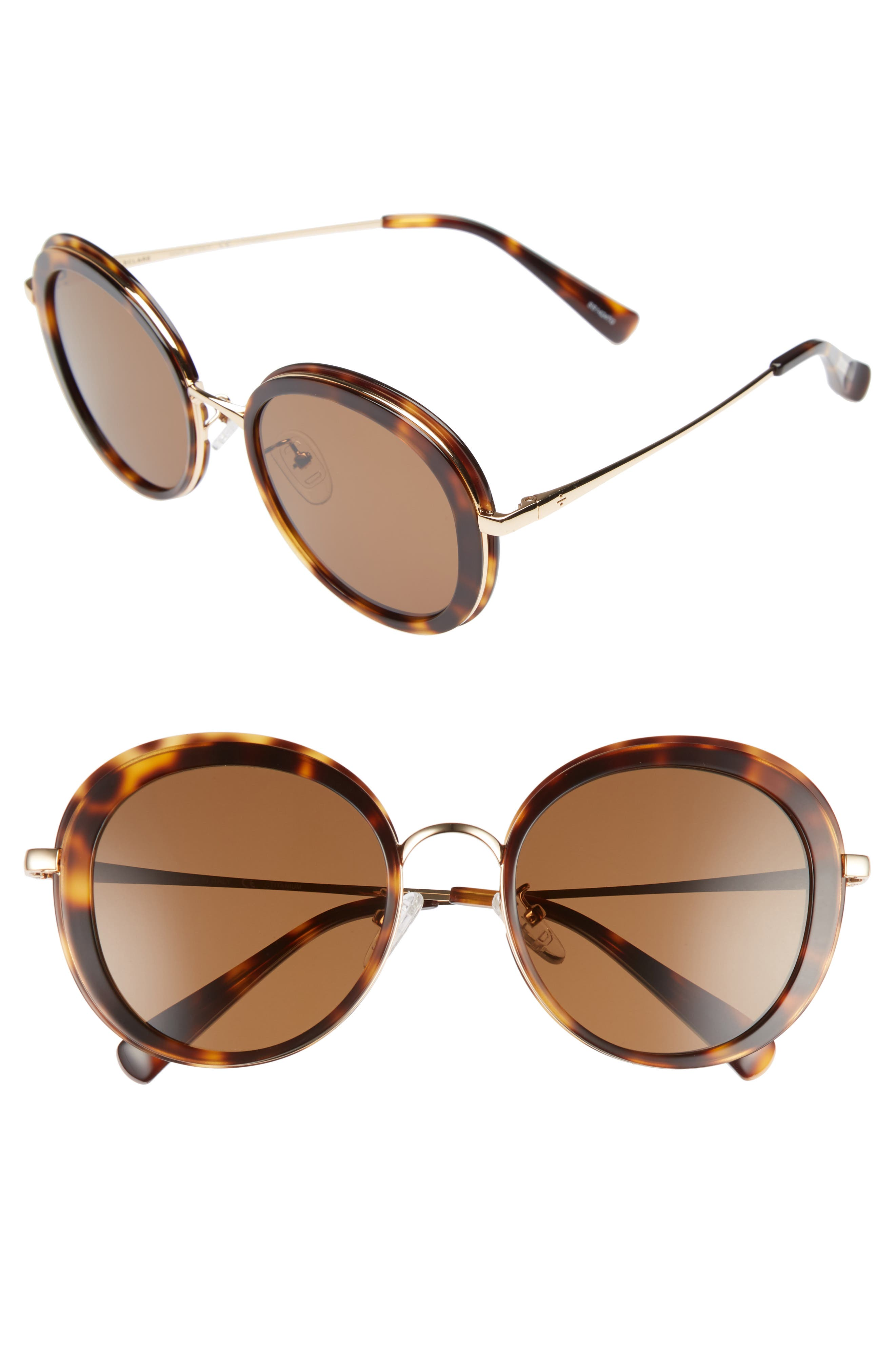 BLANC & ECLARE Portofino 54mm Polarized Sunglasses,                             Main thumbnail 1, color,                             Tortoise/ Gold/ Solid Brown
