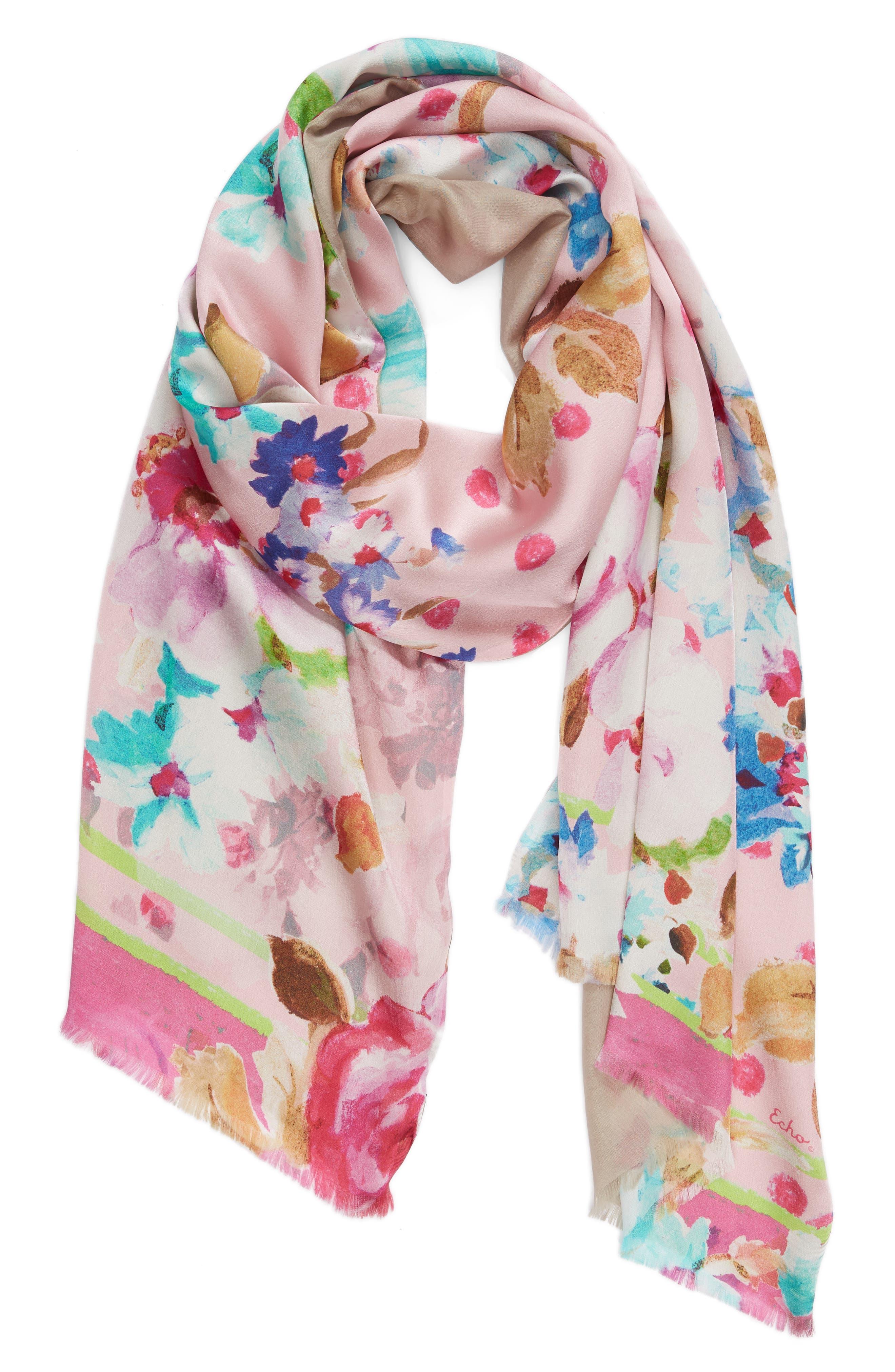 Springtime Double-Face Silk Scarf,                             Alternate thumbnail 2, color,                             Rose Pink