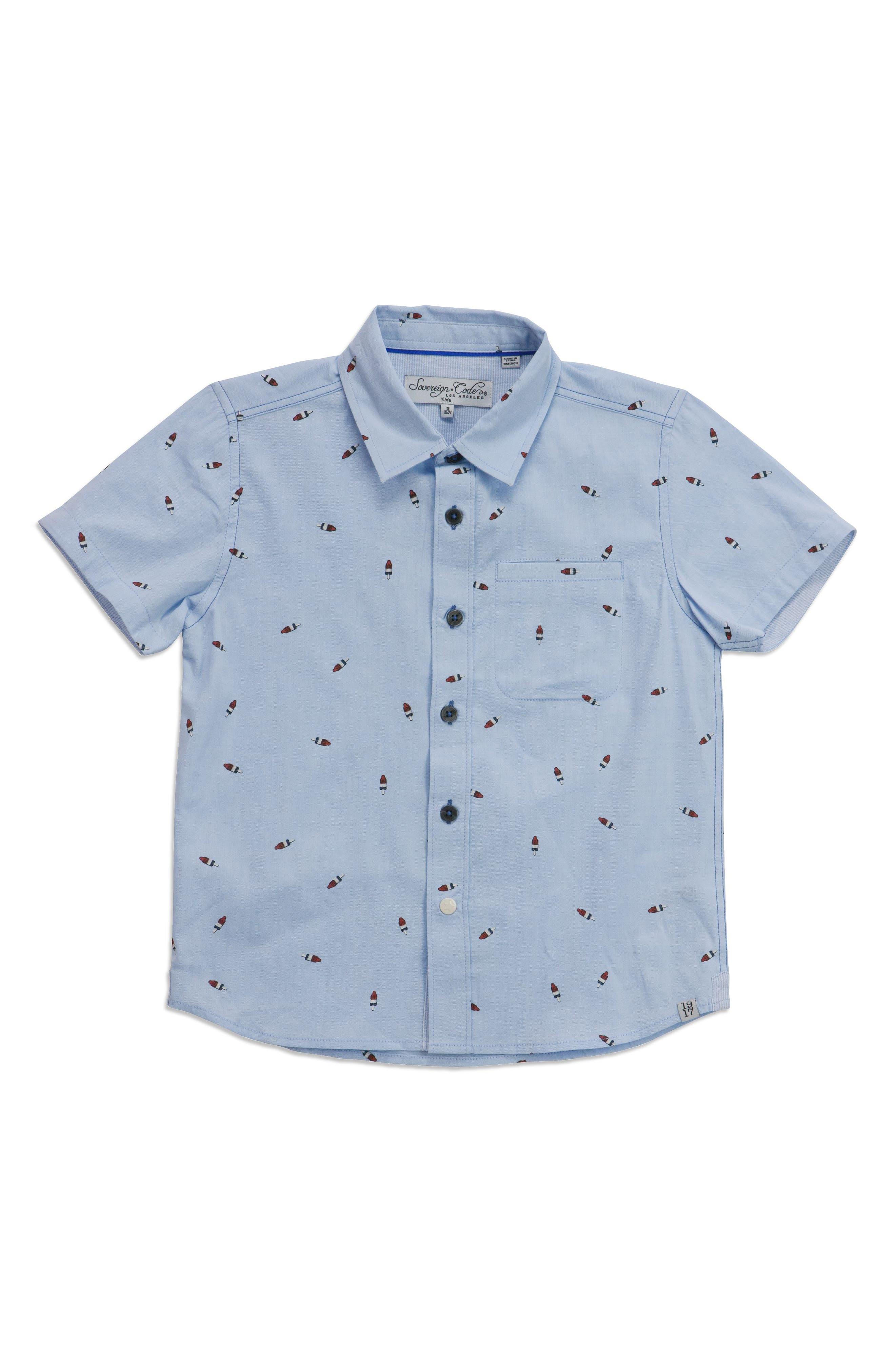 Pismo Bomb Pop Woven Shirt,                         Main,                         color, Light Blue