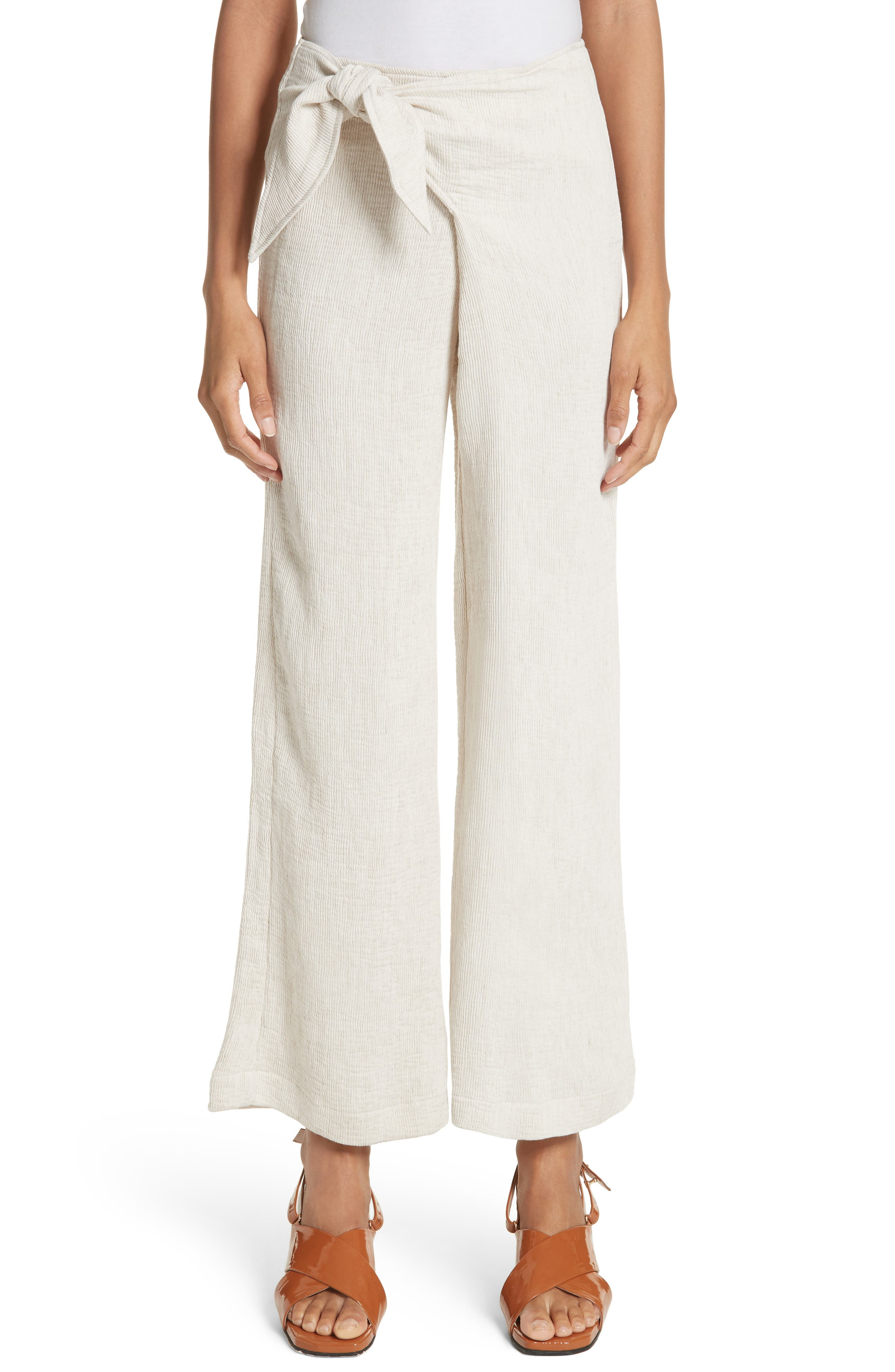 Hatton Drawstring Tie Front Pants,                         Main,                         color, Ivory