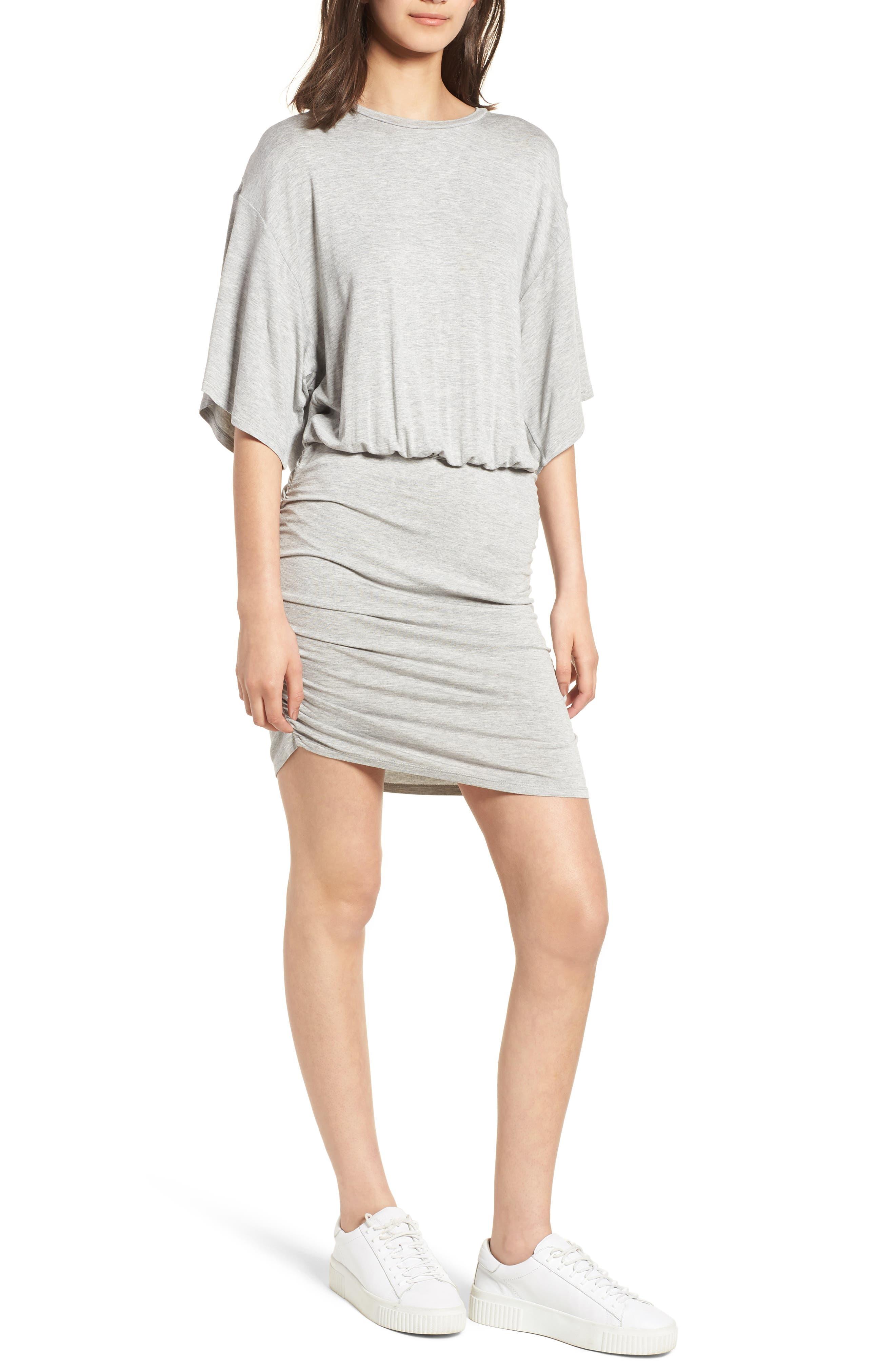 Open Back T-Shirt Dress,                         Main,                         color, Heather Grey