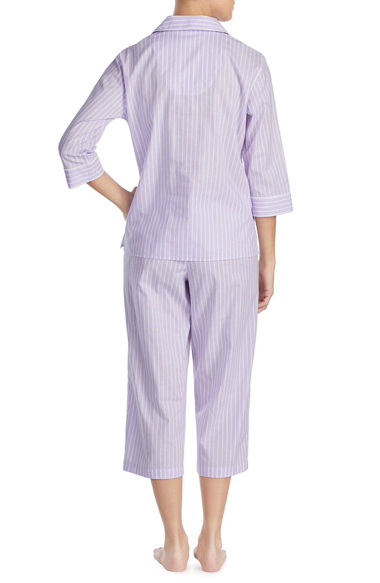 Capri Pajamas,                             Alternate thumbnail 2, color,                             Lilac Stripe