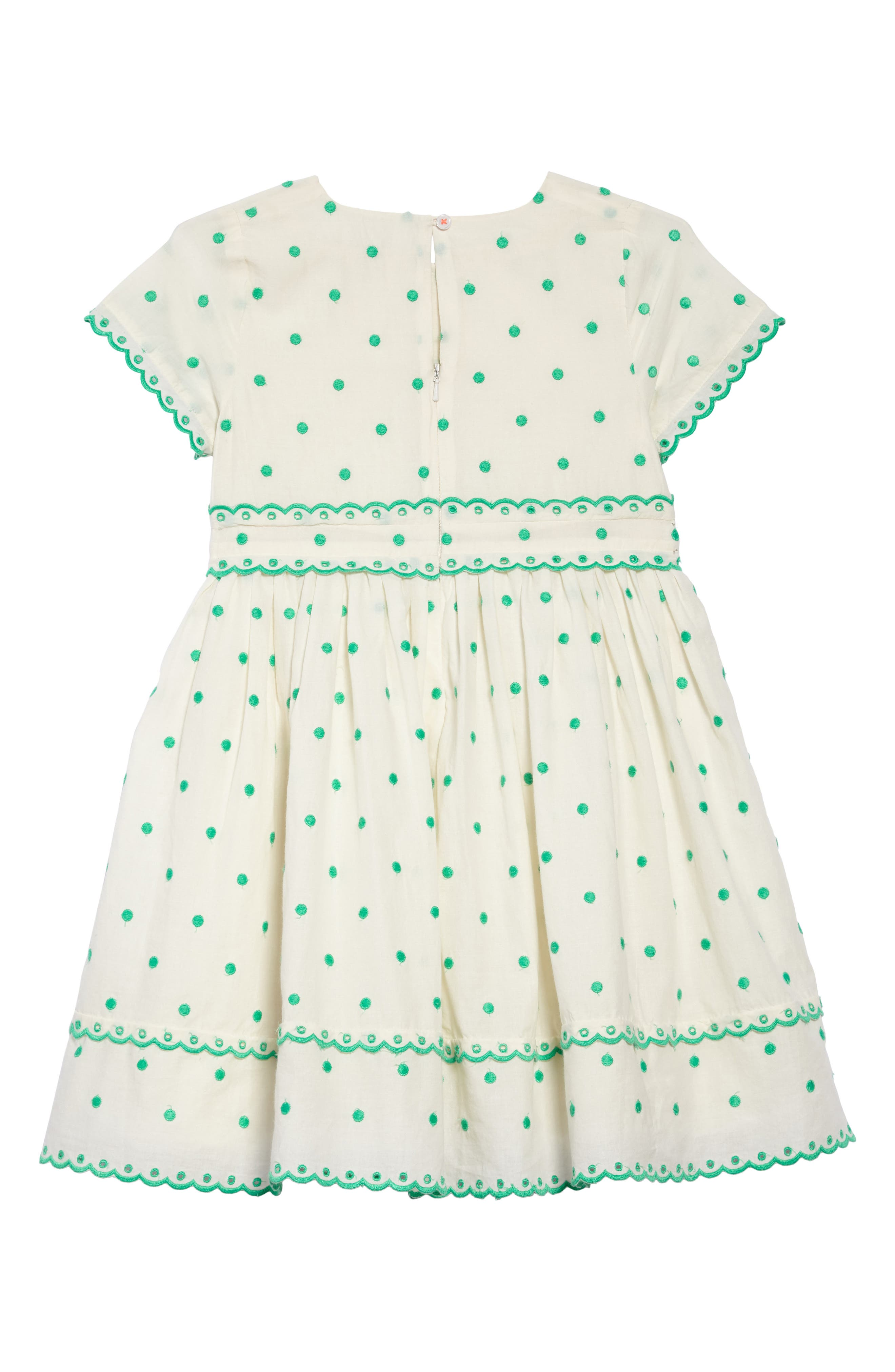 Embroidered Dot Scalloped Dress,                             Alternate thumbnail 2, color,                             Sptecru/ Mint Embroidered Spot