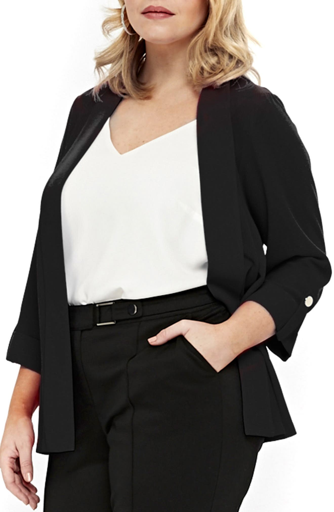 Three-Quarter Sleeve Open Front Jacket,                             Main thumbnail 1, color,                             Black