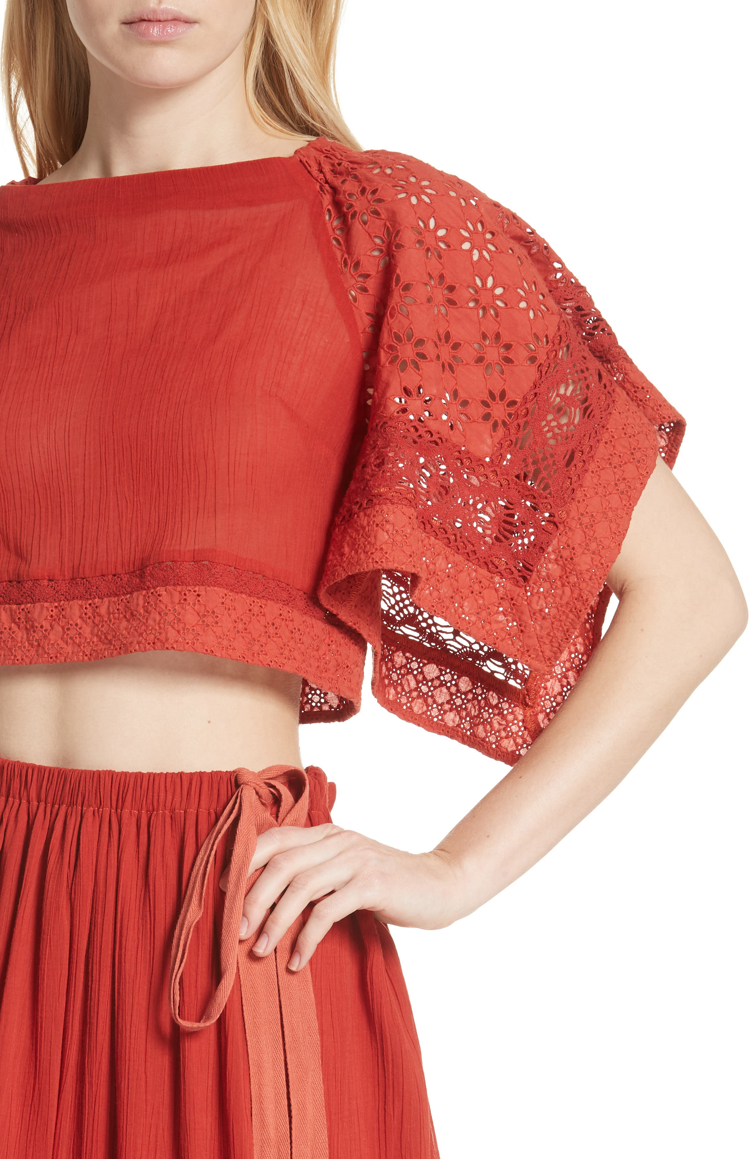 Free People Darling Top & Skirt,                             Alternate thumbnail 4, color,                             Red
