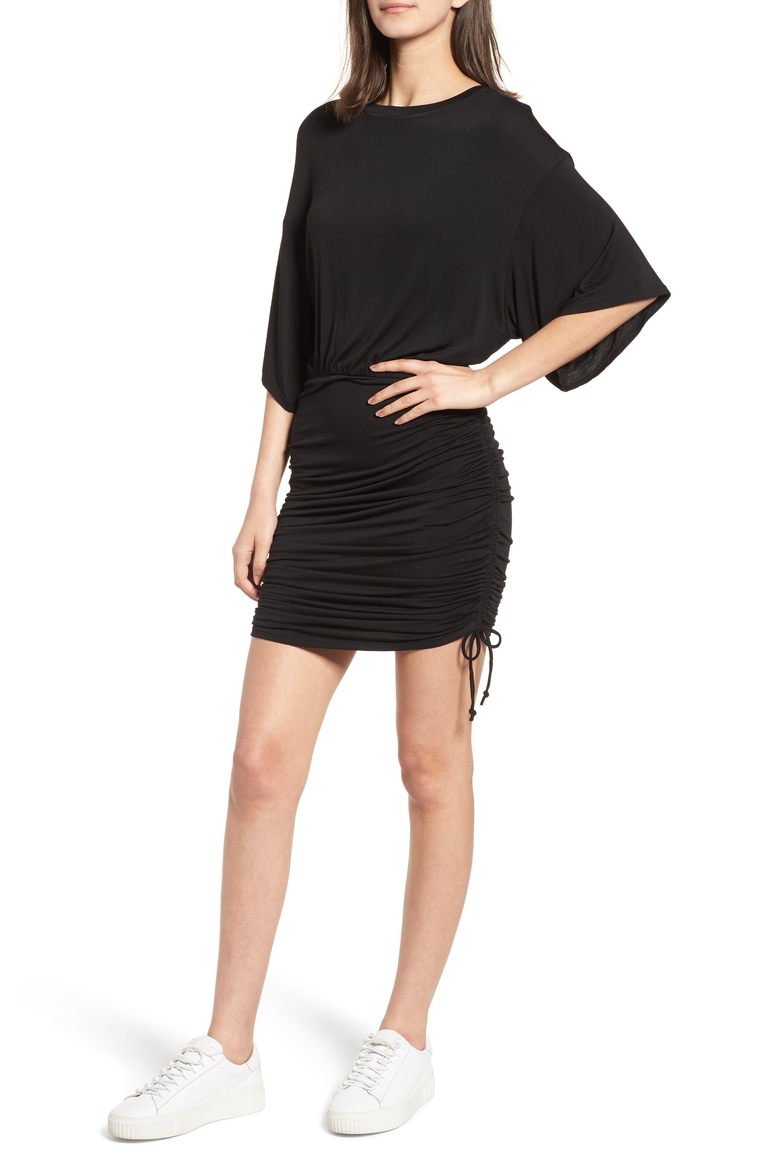 Short Sleeve Ruched Dress,                             Main thumbnail 1, color,                             Black