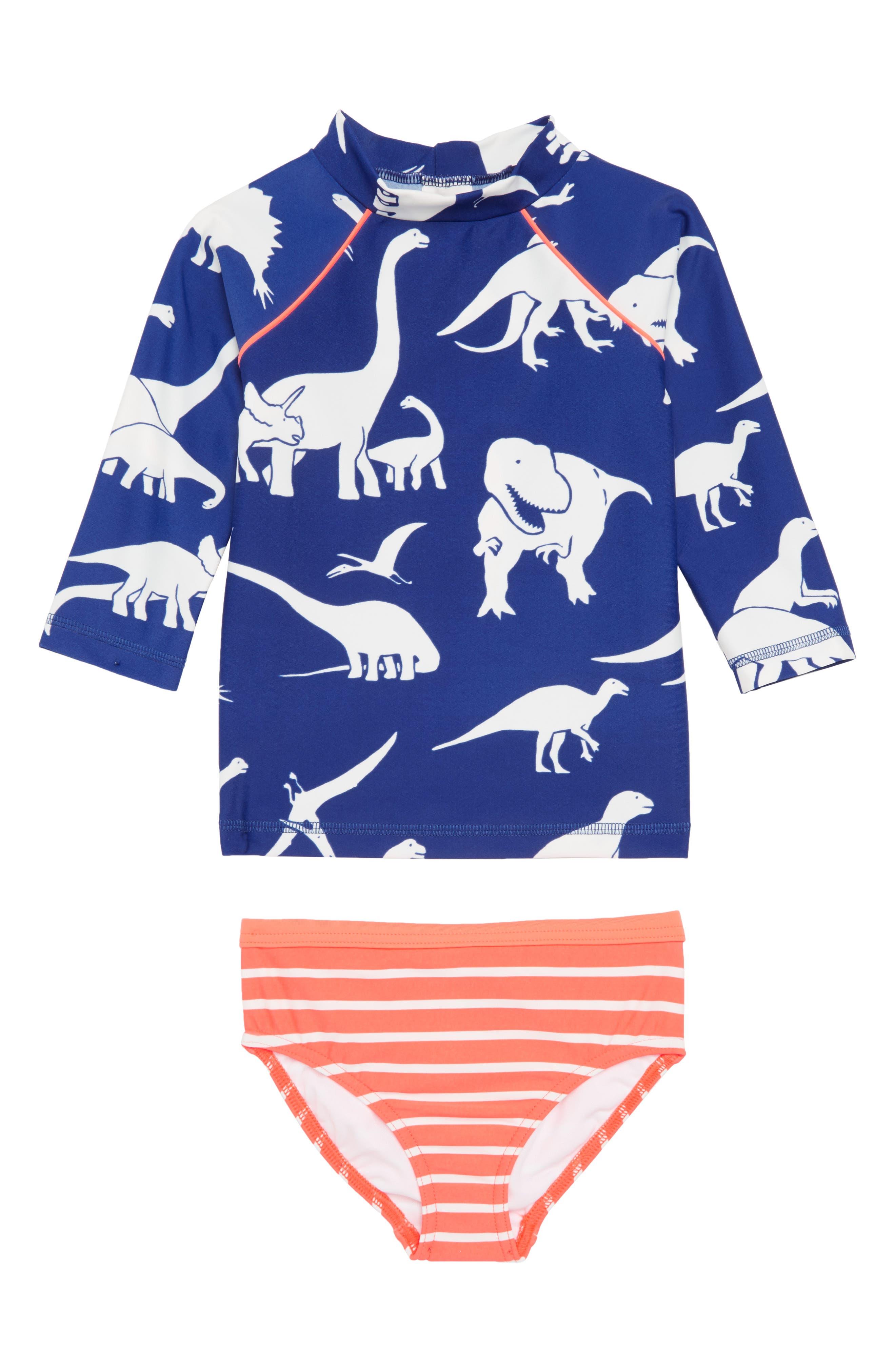 Main Image - Mini Boden Print Surf Set Two-Piece Rashguard Swimsuit (Toddler Girls, Little Girls & Big Girls)