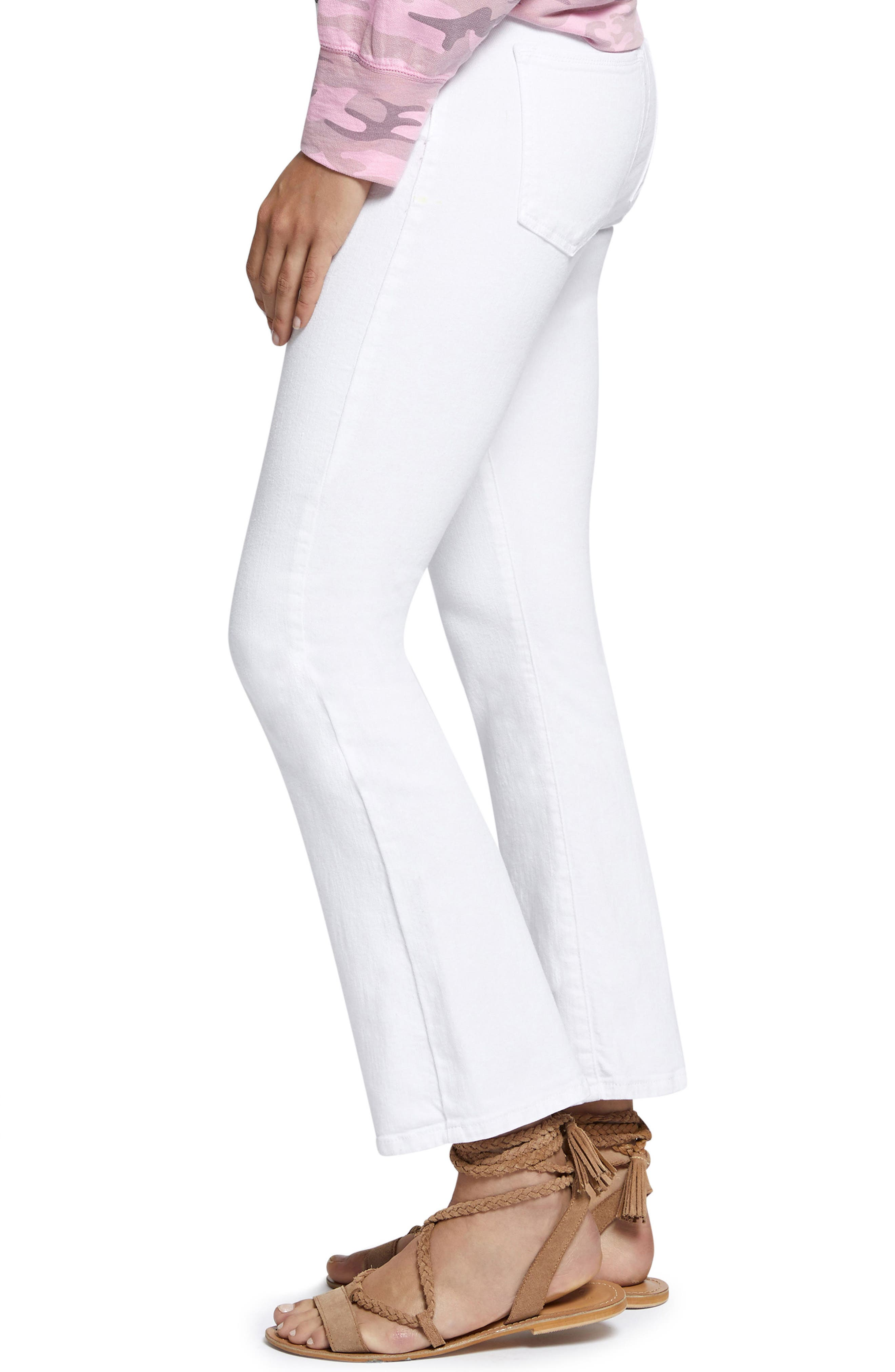 Robbie Crop Flare Jeans,                             Alternate thumbnail 3, color,                             White