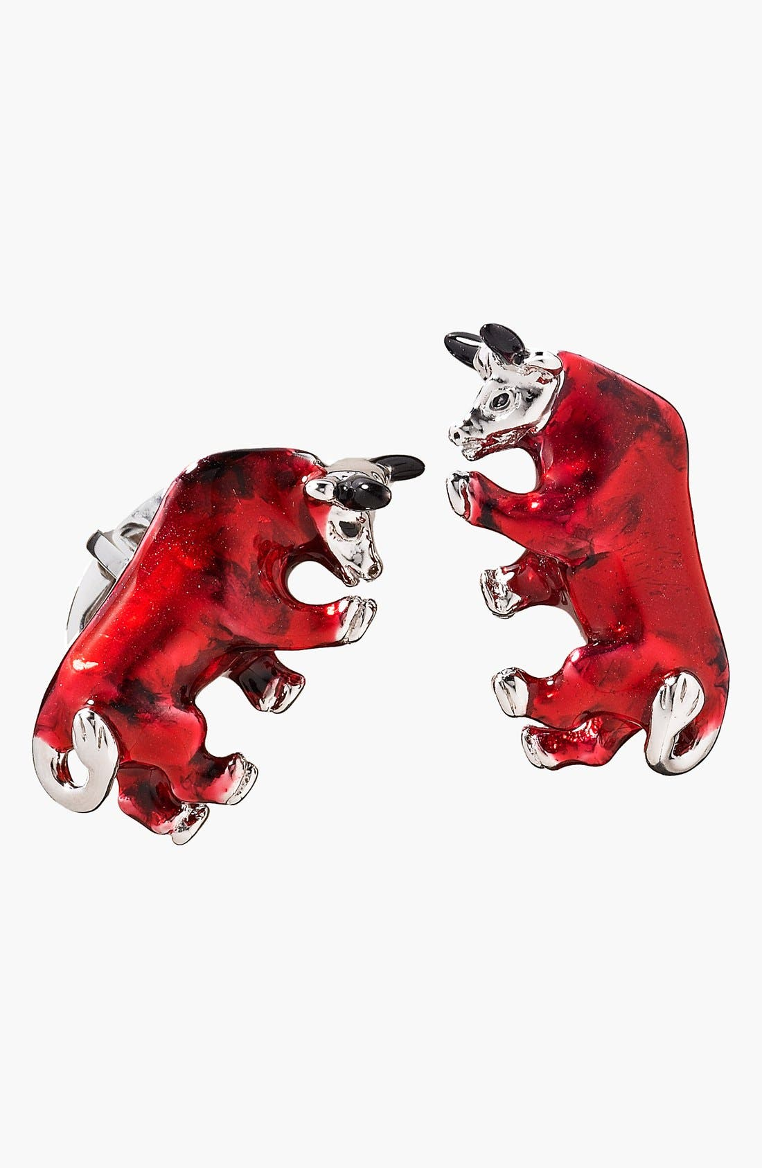Bull Cuff Links,                         Main,                         color, Silver/ Red