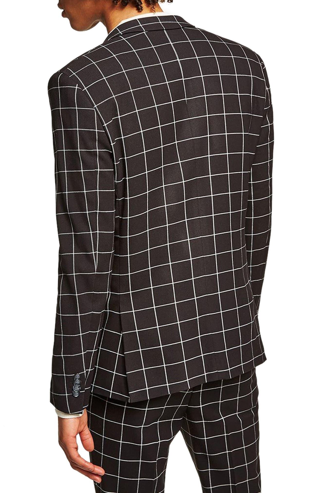 Skinny Fit Windowpane Suit Jacket,                             Alternate thumbnail 3, color,                             Black Multi