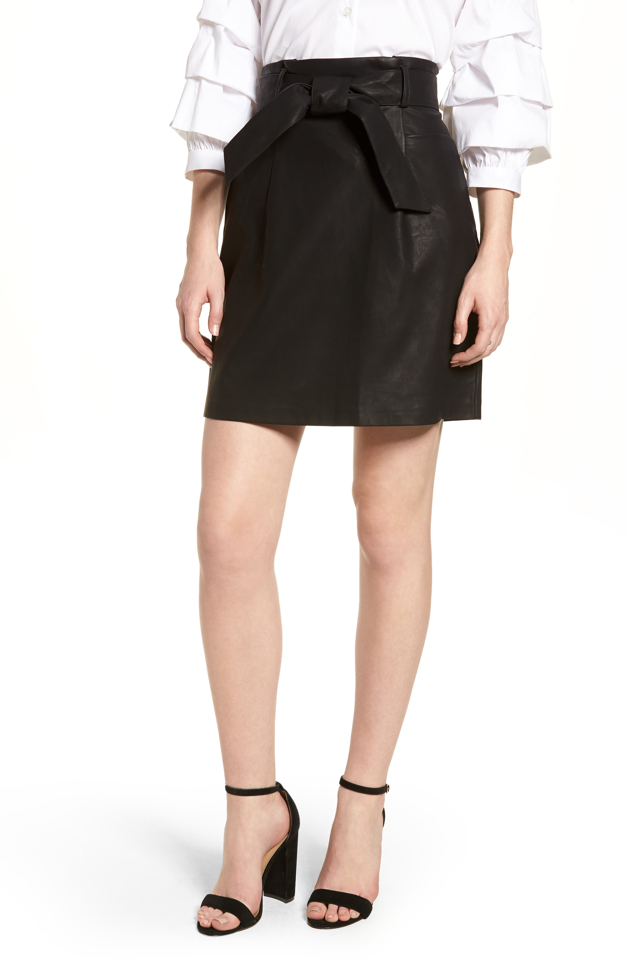 Paperbag Faux Leather Miniskirt,                             Main thumbnail 1, color,                             Black