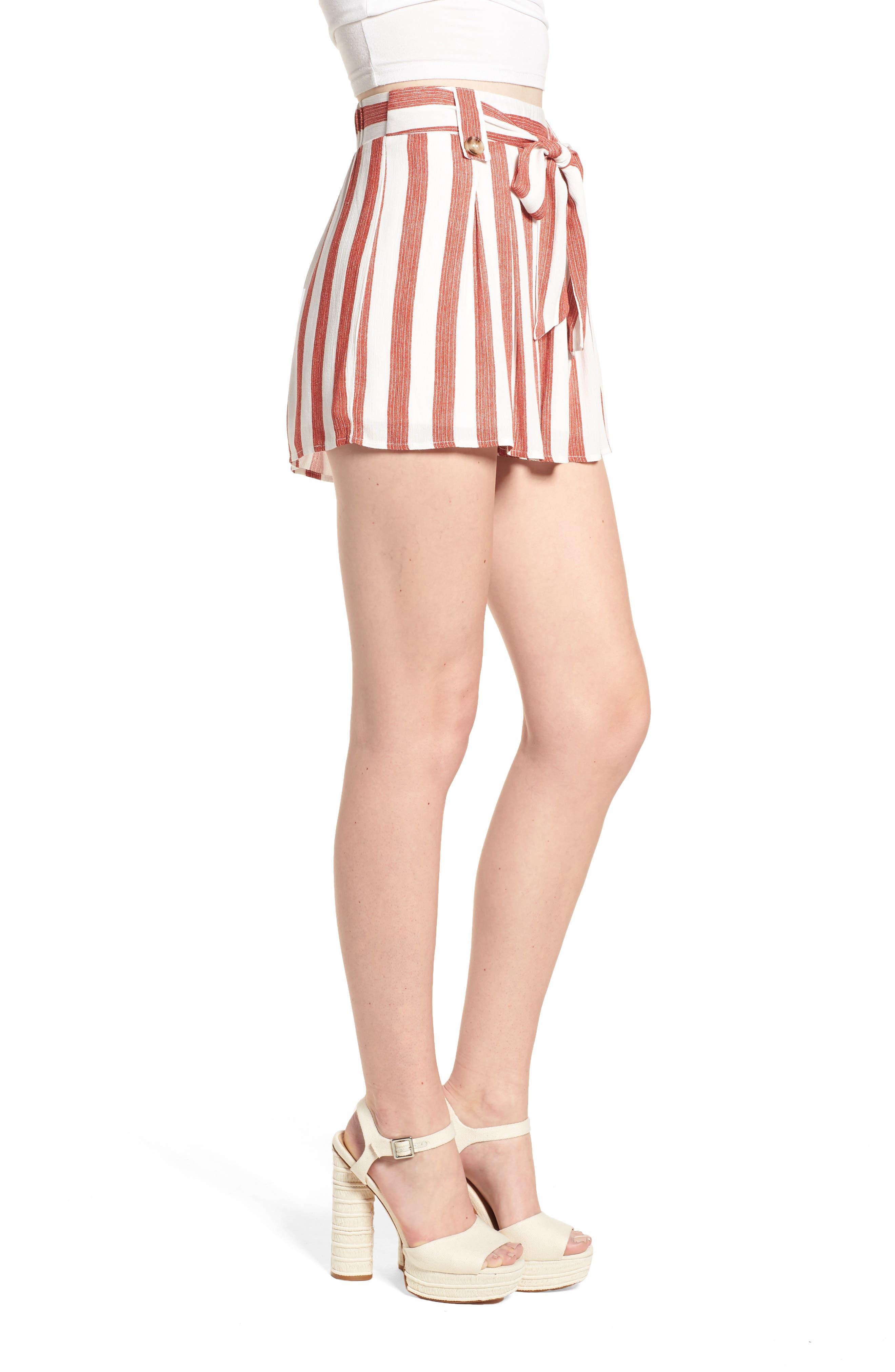 Stripe Shorts,                             Alternate thumbnail 4, color,                             Red/ Ivory