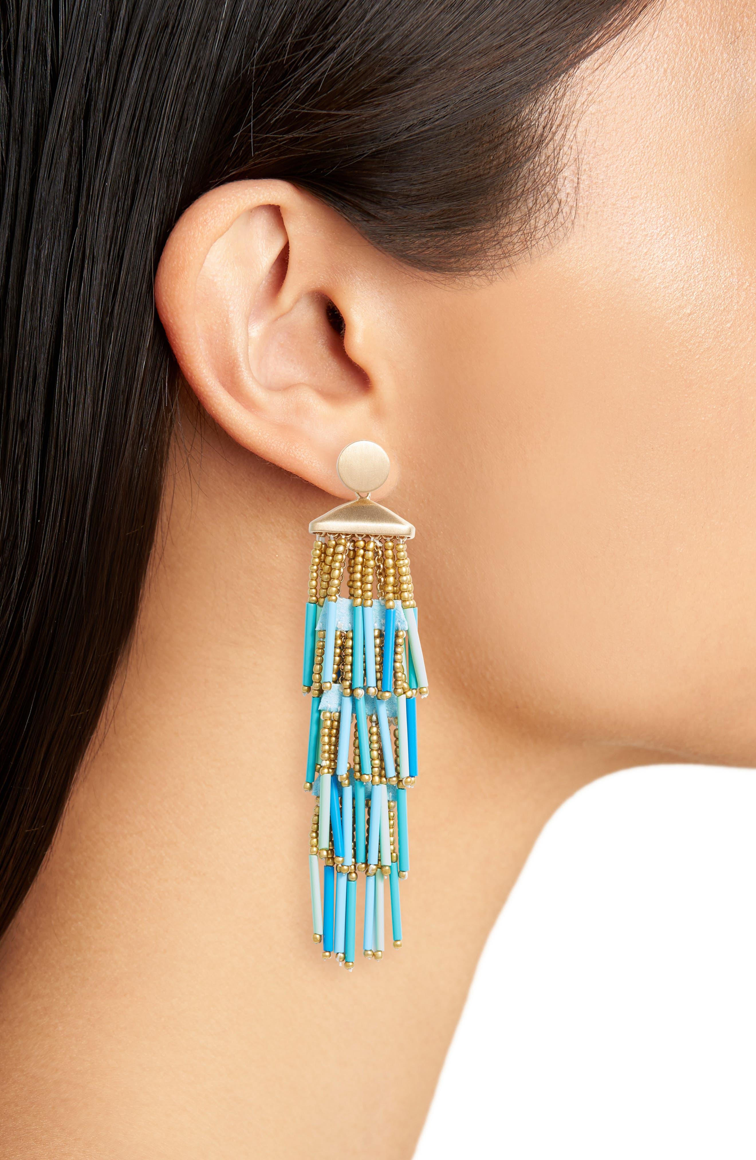 Beaded Fringe Drama Earrings,                             Alternate thumbnail 2, color,                             Turquoise Multi