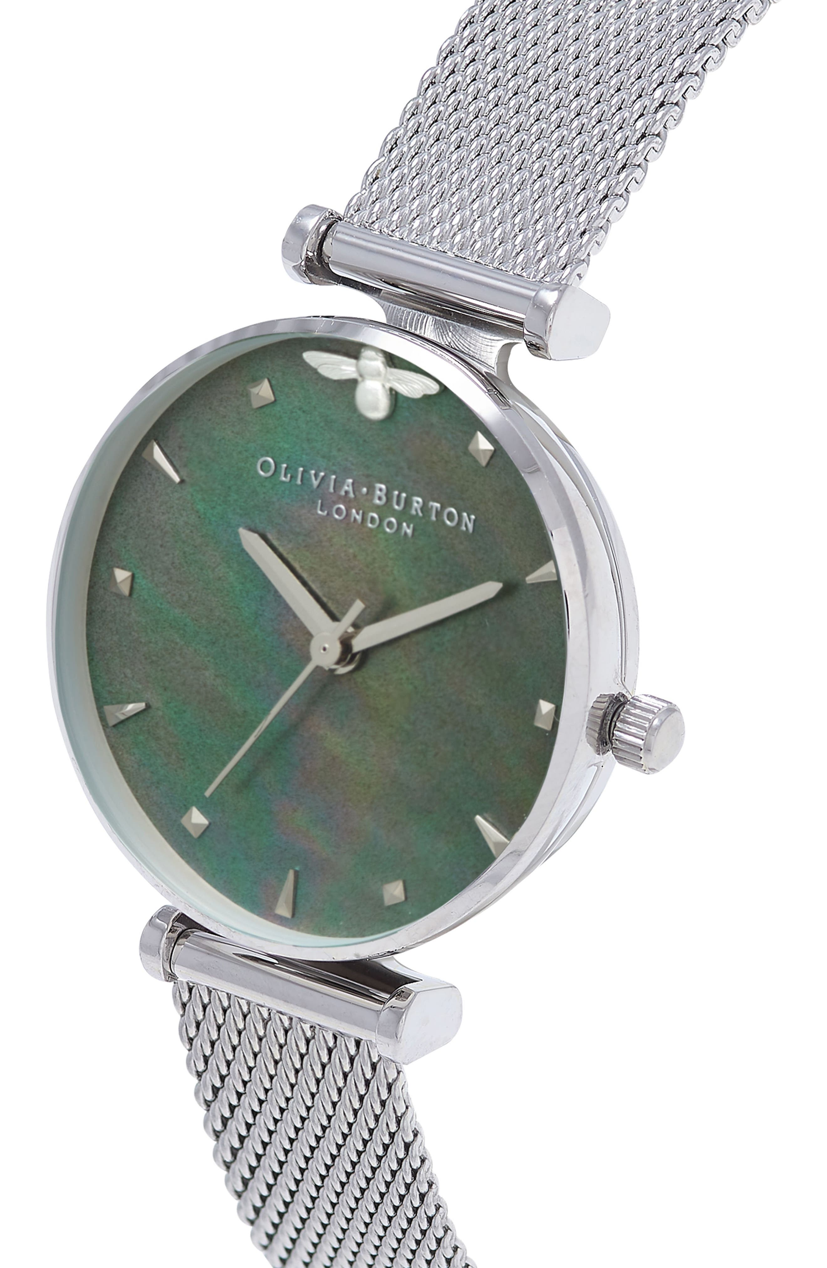Queen Bee Mesh Strap Watch, 30mm,                             Alternate thumbnail 3, color,                             Silver/ Blue Mop/ Silver