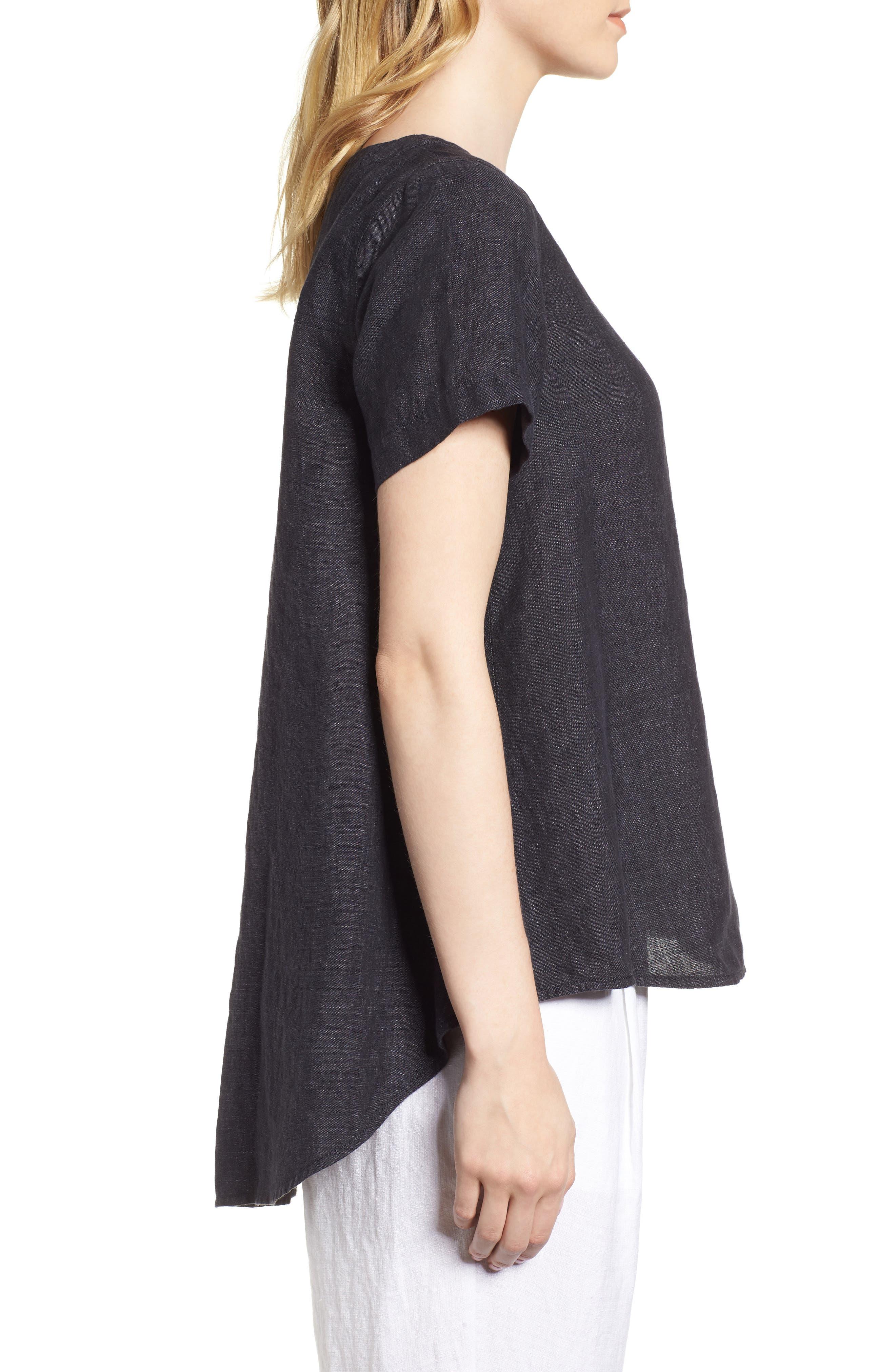 Short Sleeve Organic Linen Flutter Top,                             Alternate thumbnail 3, color,                             Denim