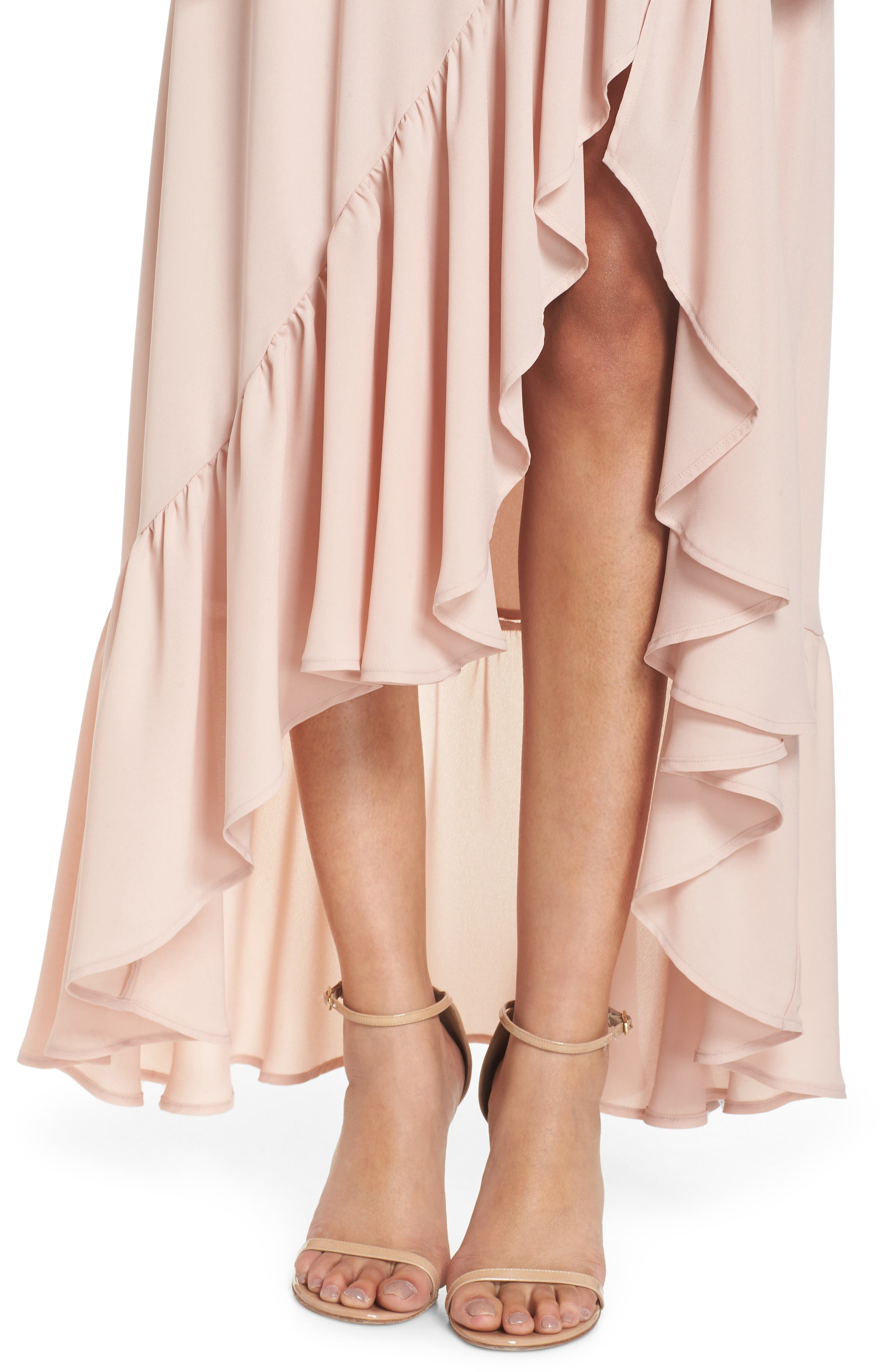 Tango Ruffle Gown,                             Alternate thumbnail 4, color,                             Dusty Blush Crisp
